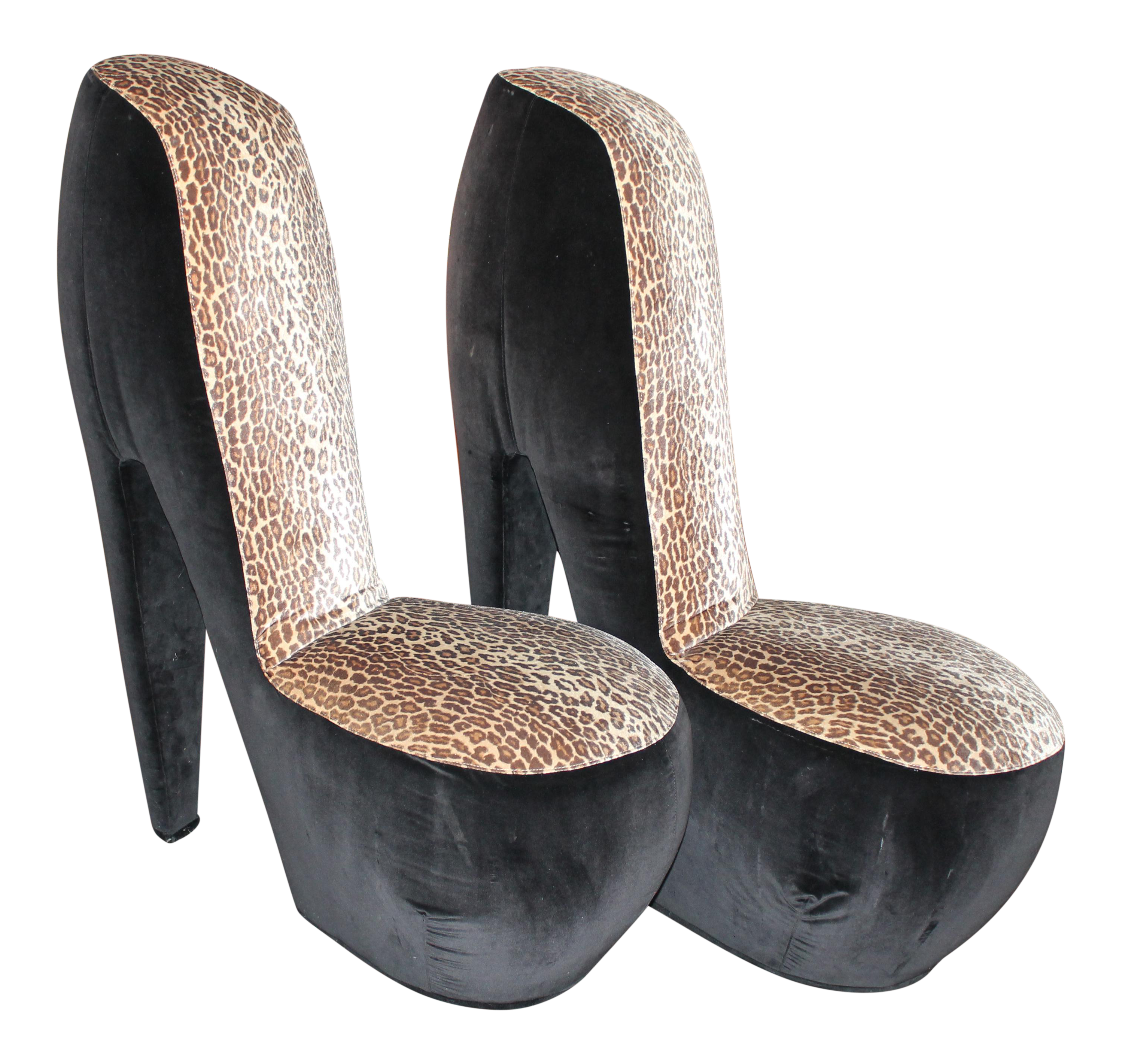 Leopard Print High Heel Shoe Chairs A Pair