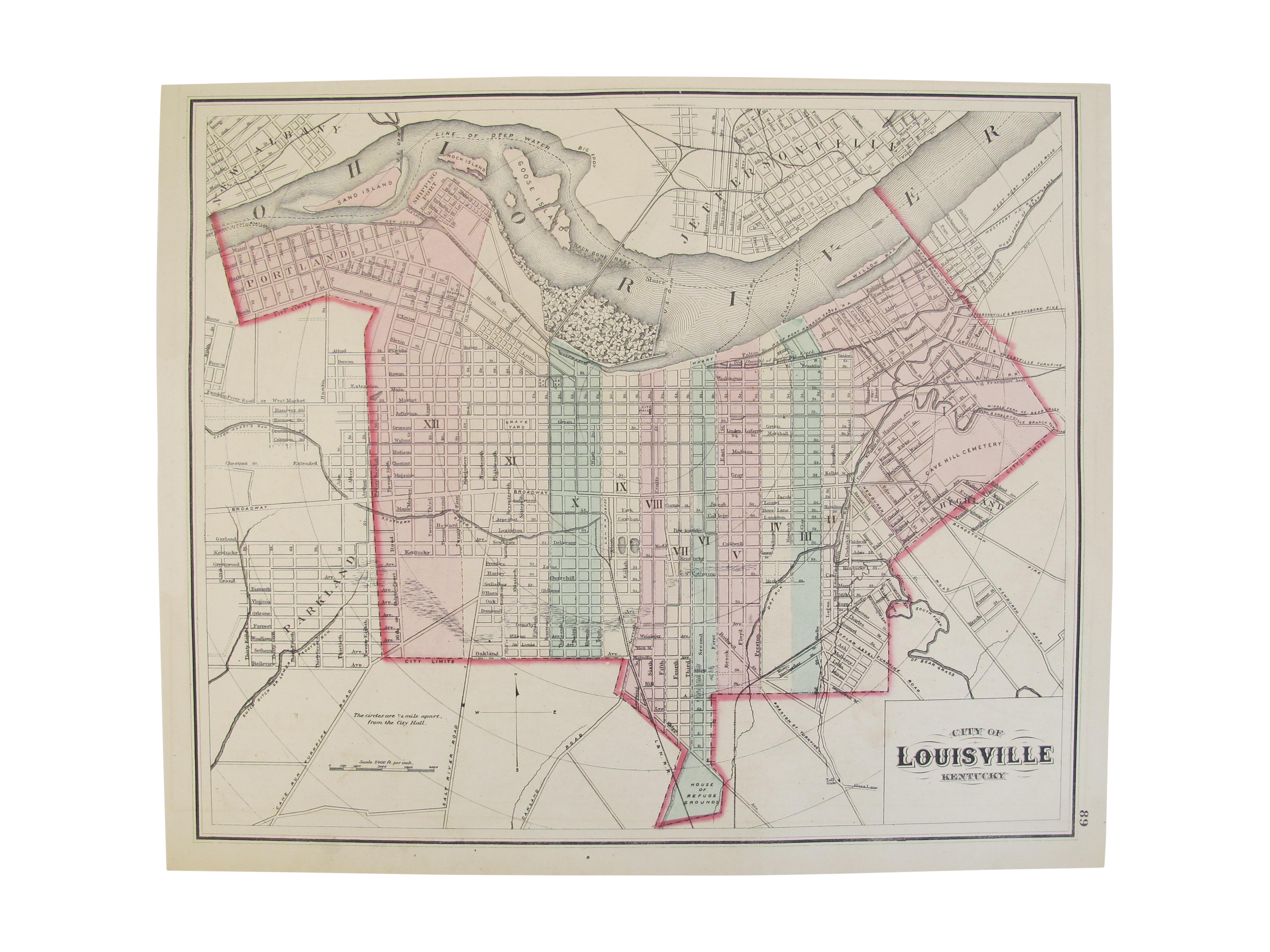 Antique Double Sided Map Of Louisville Ohio Chairish