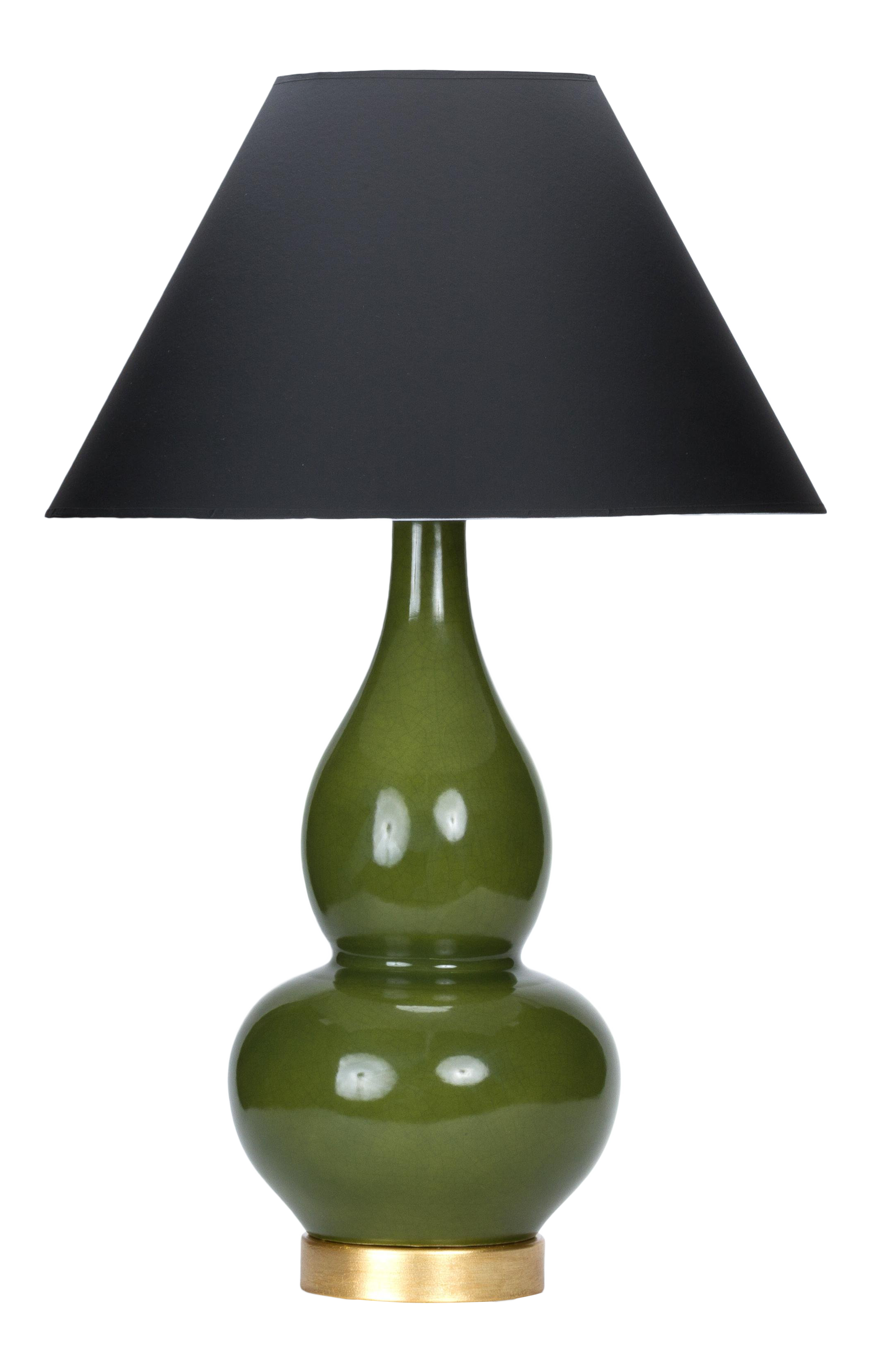 Casa Cosima Double Gourd Table Lamp Olive Craquelure Black Shade
