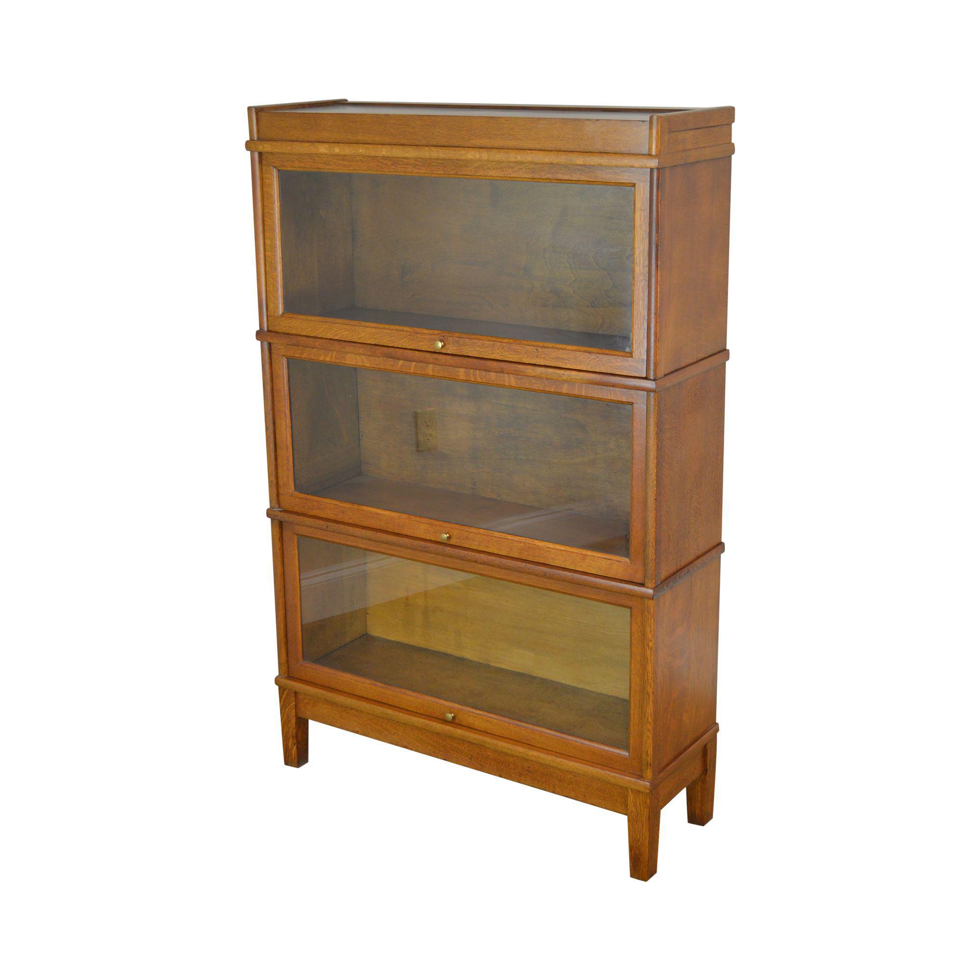 Antique 3 Stack Oak Barrister Bookcase
