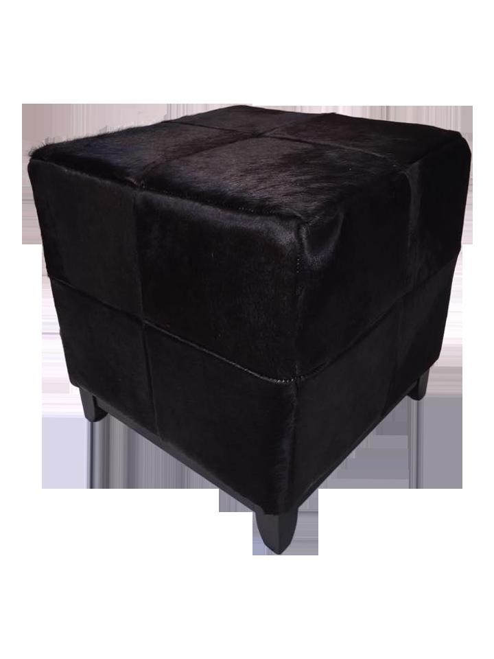 black cowhide ottoman chairish. Black Bedroom Furniture Sets. Home Design Ideas