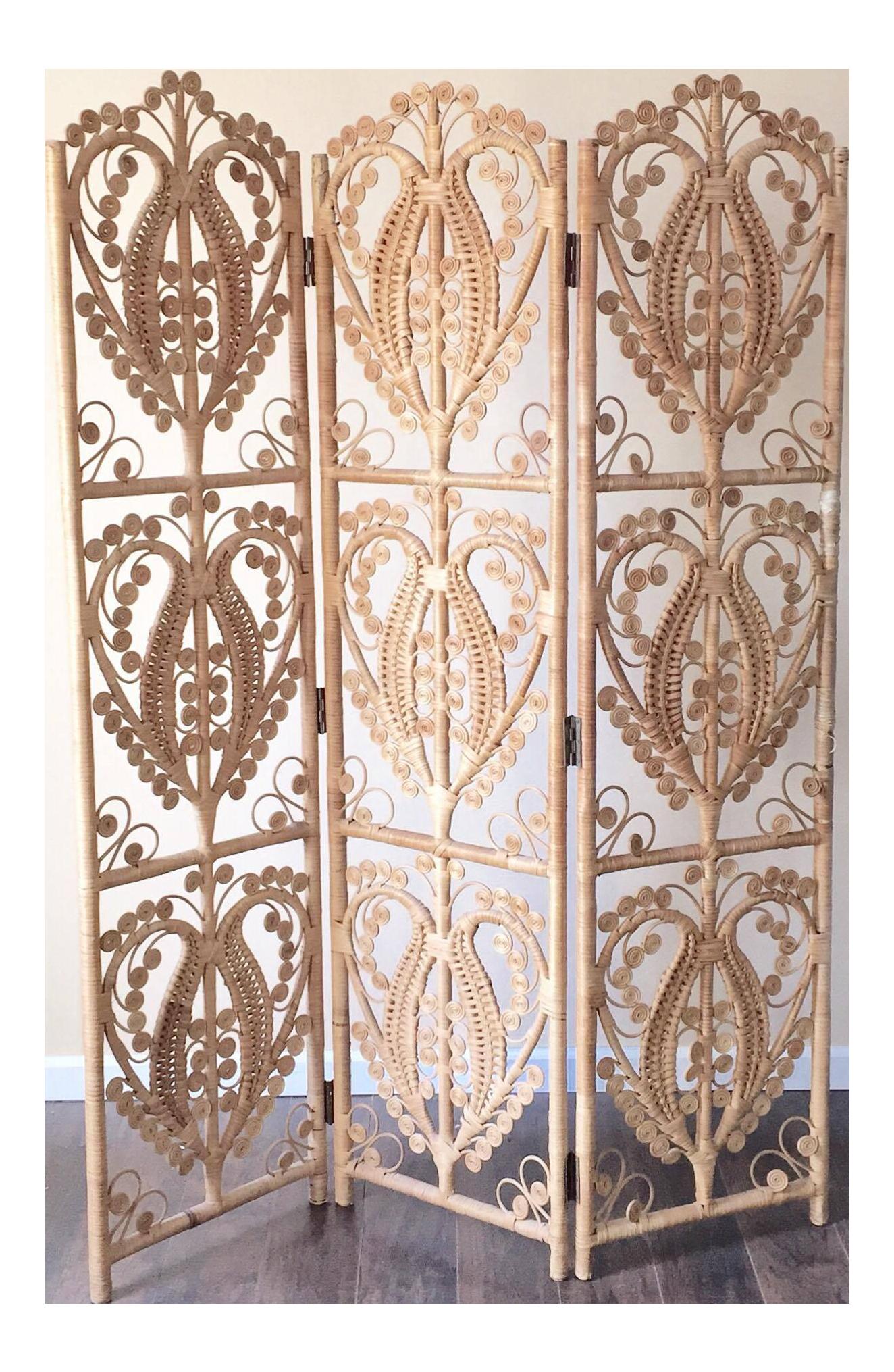 Vintage Wicker Peacock Room Divider 3 Panel Screen Chairish