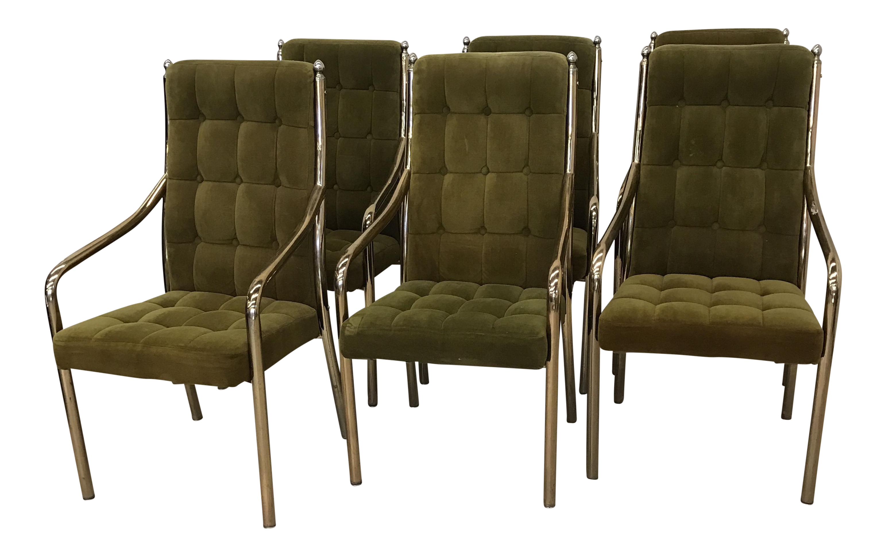 chromcraft green velvet brass dining chairs set of 6 chairish
