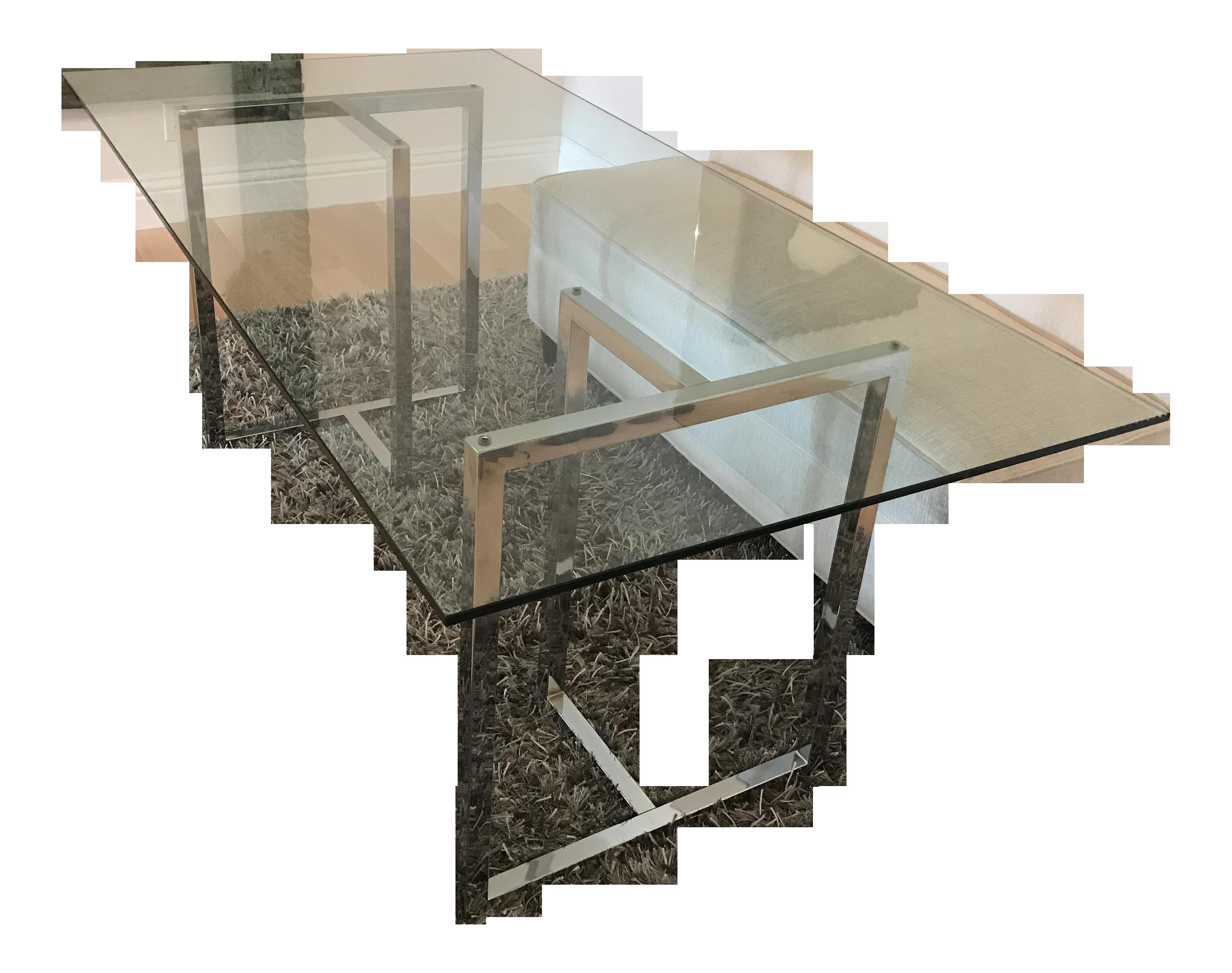 Silverado Chrome Dining Table Chairish - Silverado rectangular coffee table