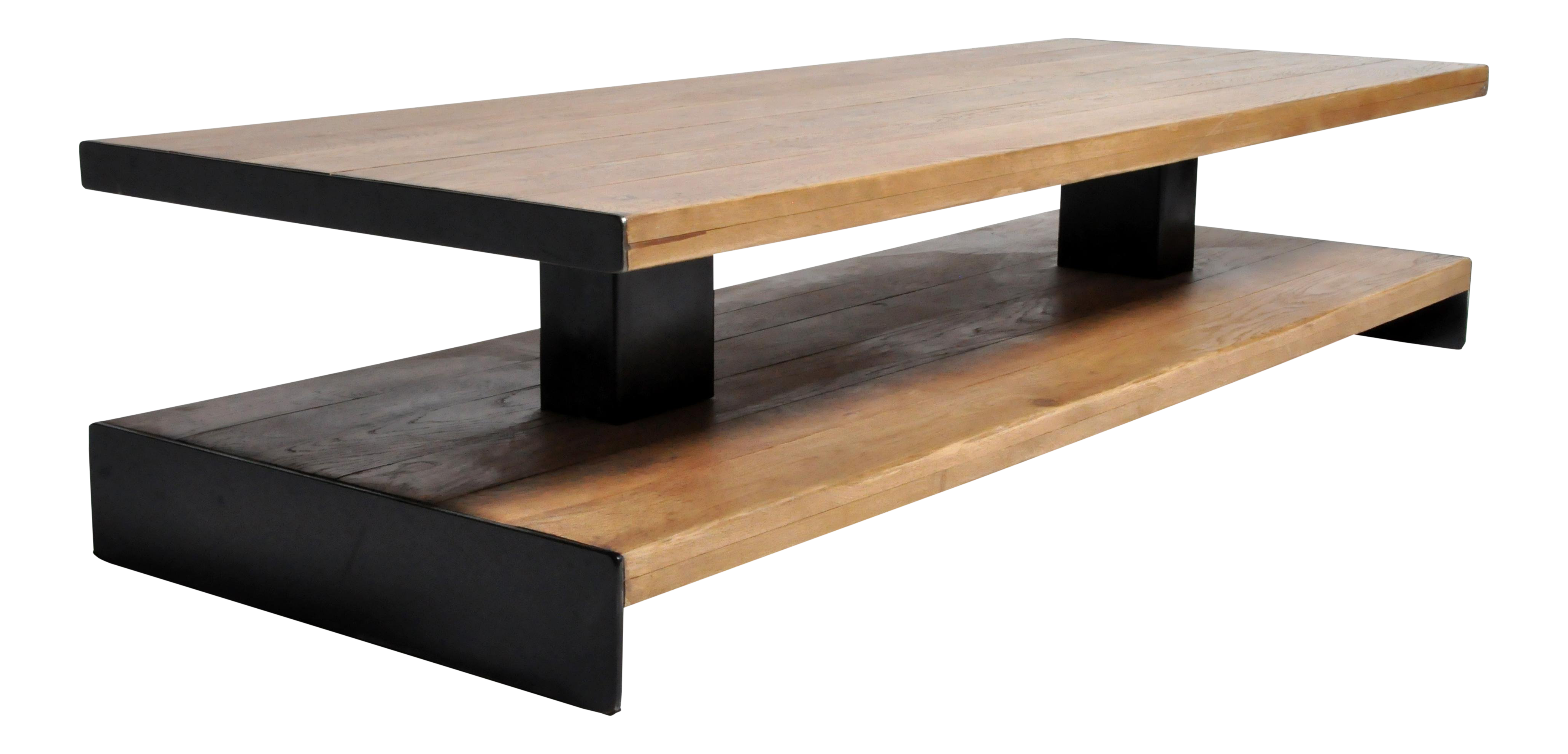 Superior Modern Oak Wood Coffee Table With Metal Trim | DECASO