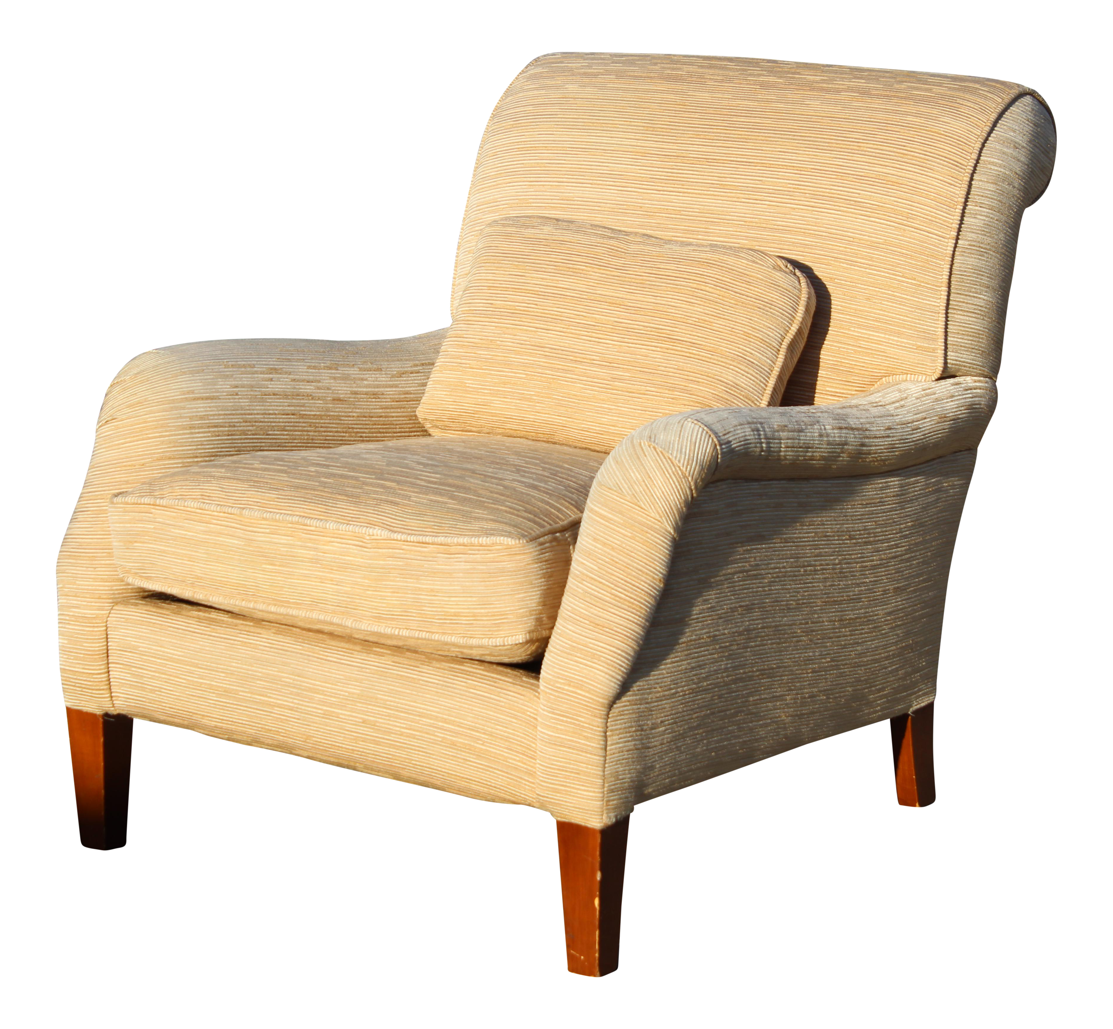 Contemporary Club Chair In Wheat Colored Raw Silk Ribbed Upholstery