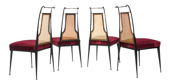 Superior Arturo Pani Red Velvet Dining Chairs | DECASO