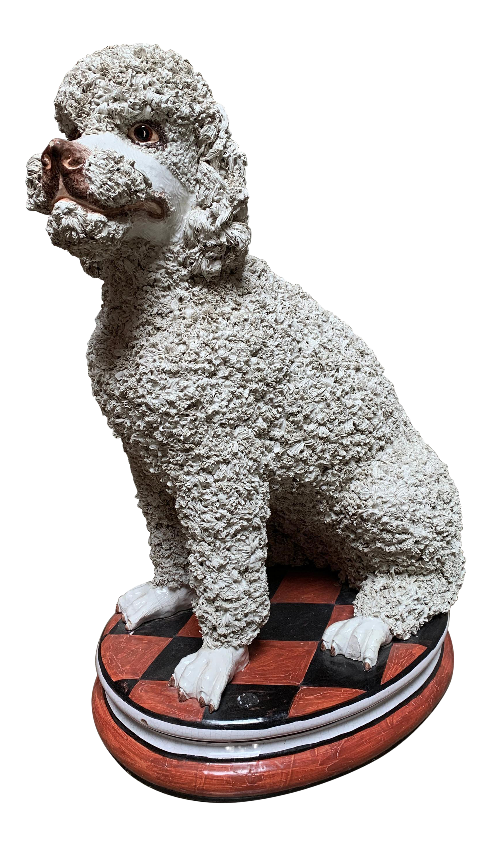 Large Mid Century Italian Ceramic White Standard Poodle Spaghetti Dog Sculpture Chairish