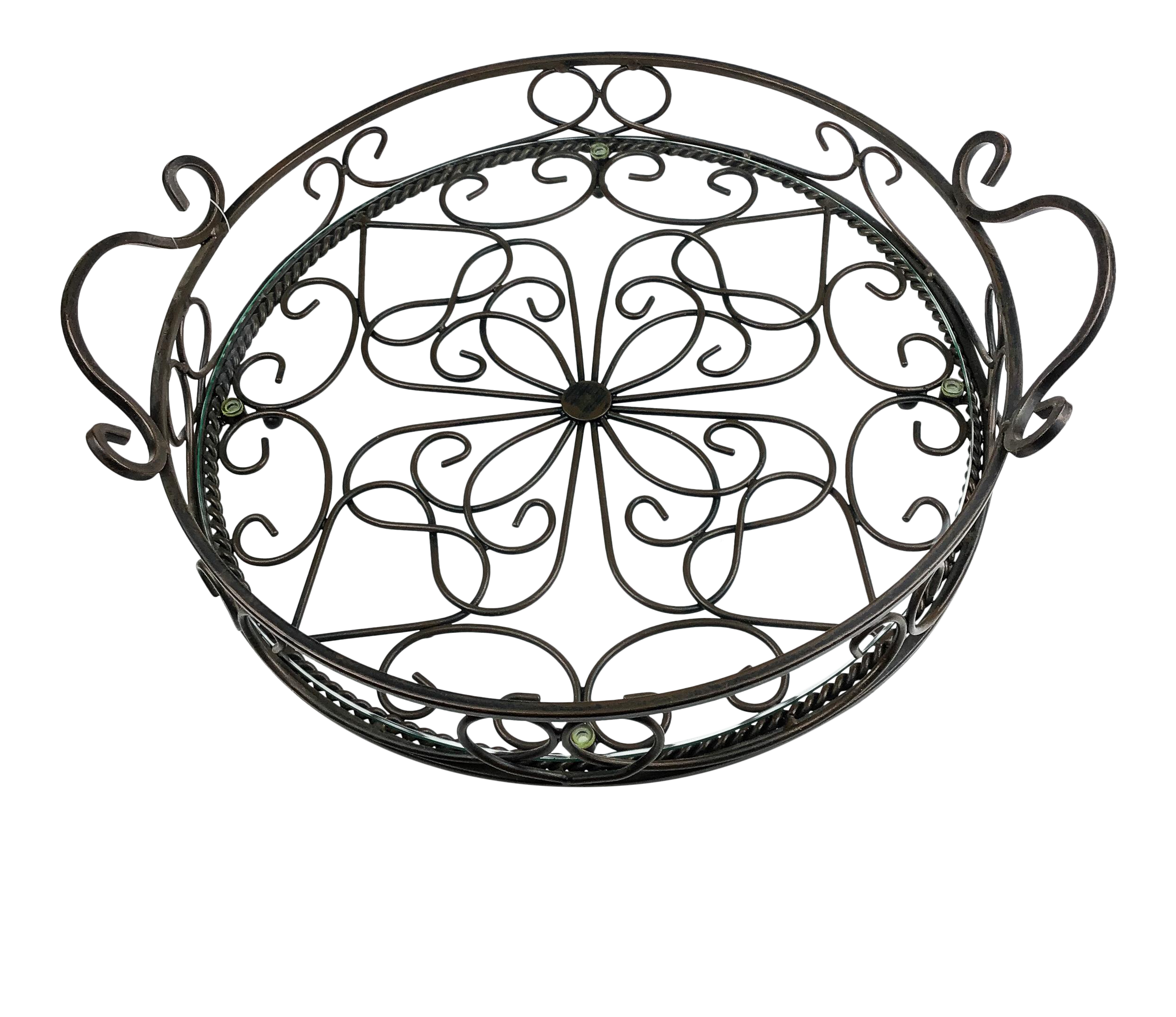 Boho Wrought Iron Serving Tray With Glass Chairish