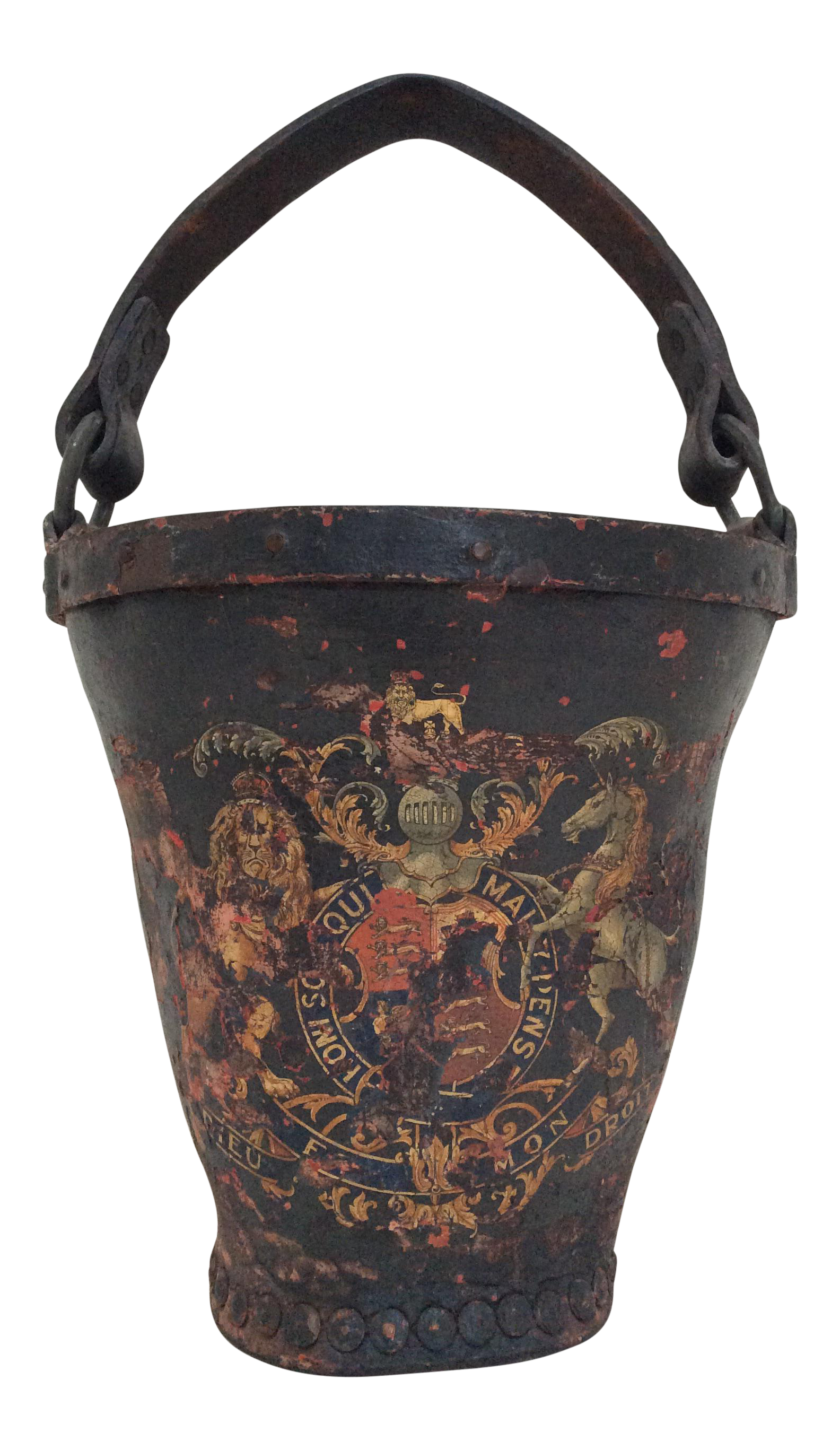 Antique Leather Coat Of Arms Fire Bucket Chairish