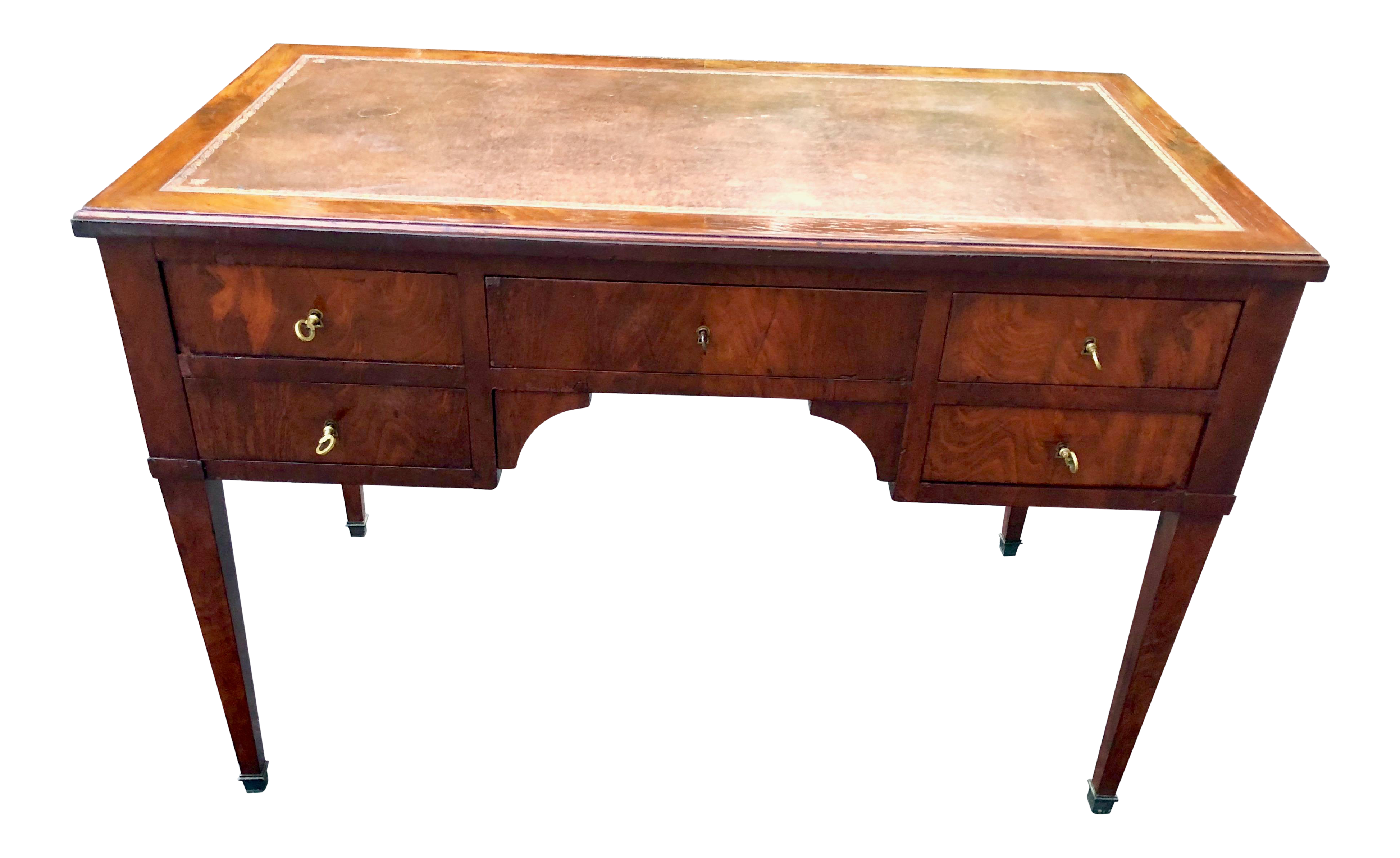 Early 20Th Century Antique Directoire Style Leather Top Writing Desk