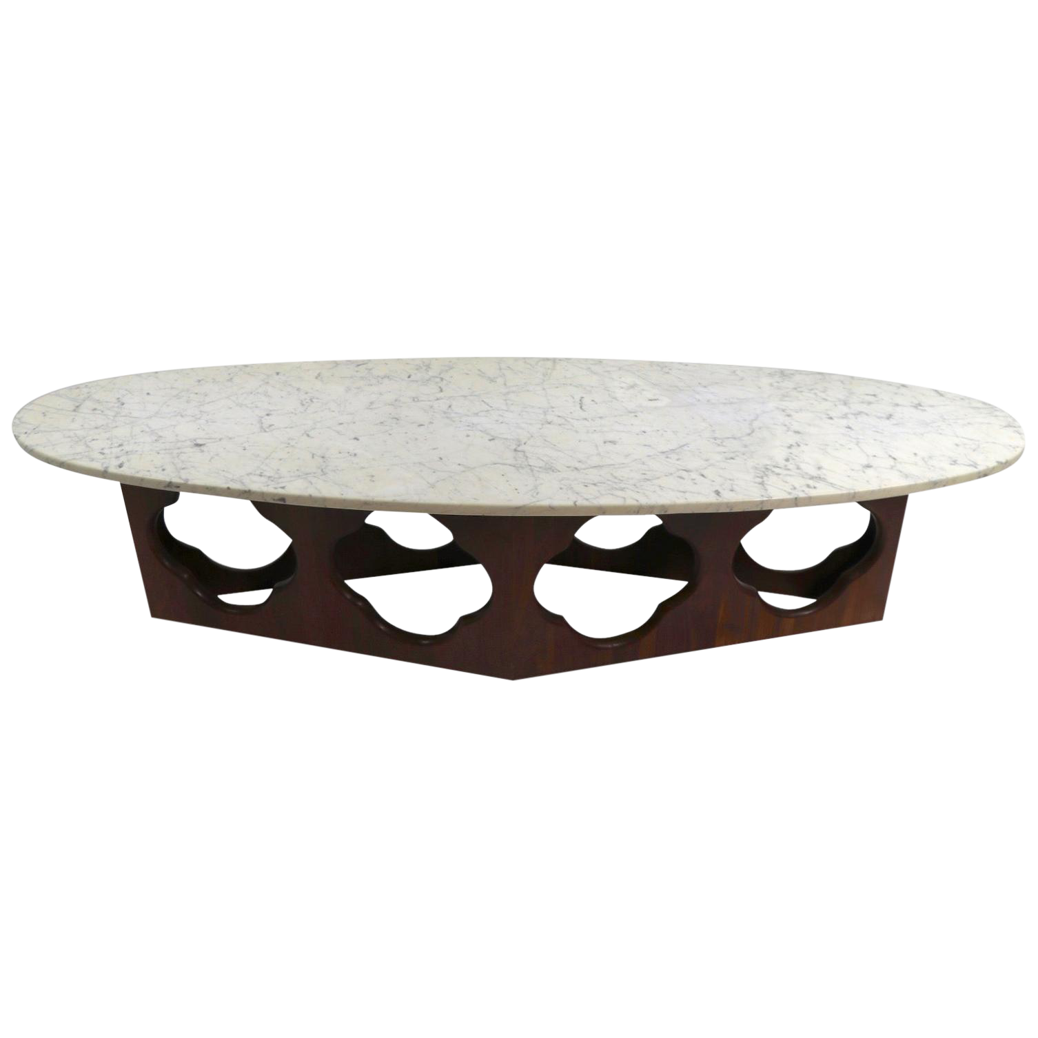 Mid Century Surfboard Marble Top Coffee Table With Walnut Quatrefoil Motif Base Chairish