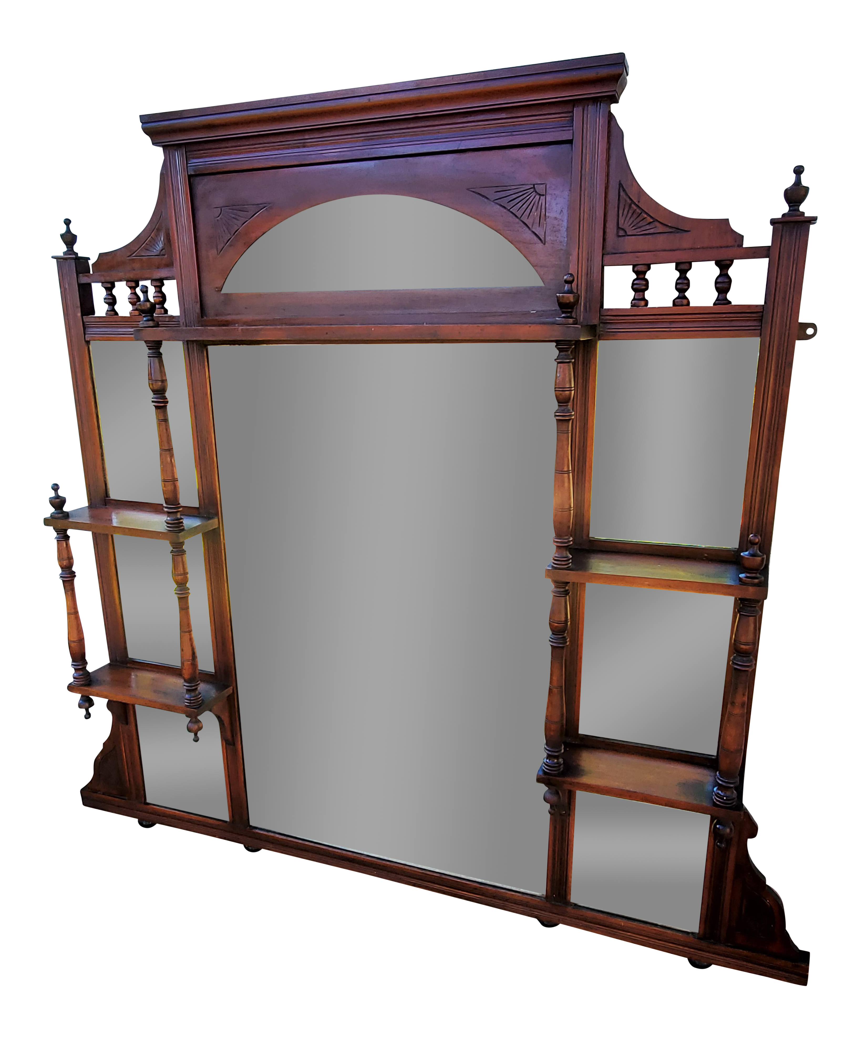 1880s Antique Victorian Walnut Over Fireplace Mantel Mirror With Shelves Chairish