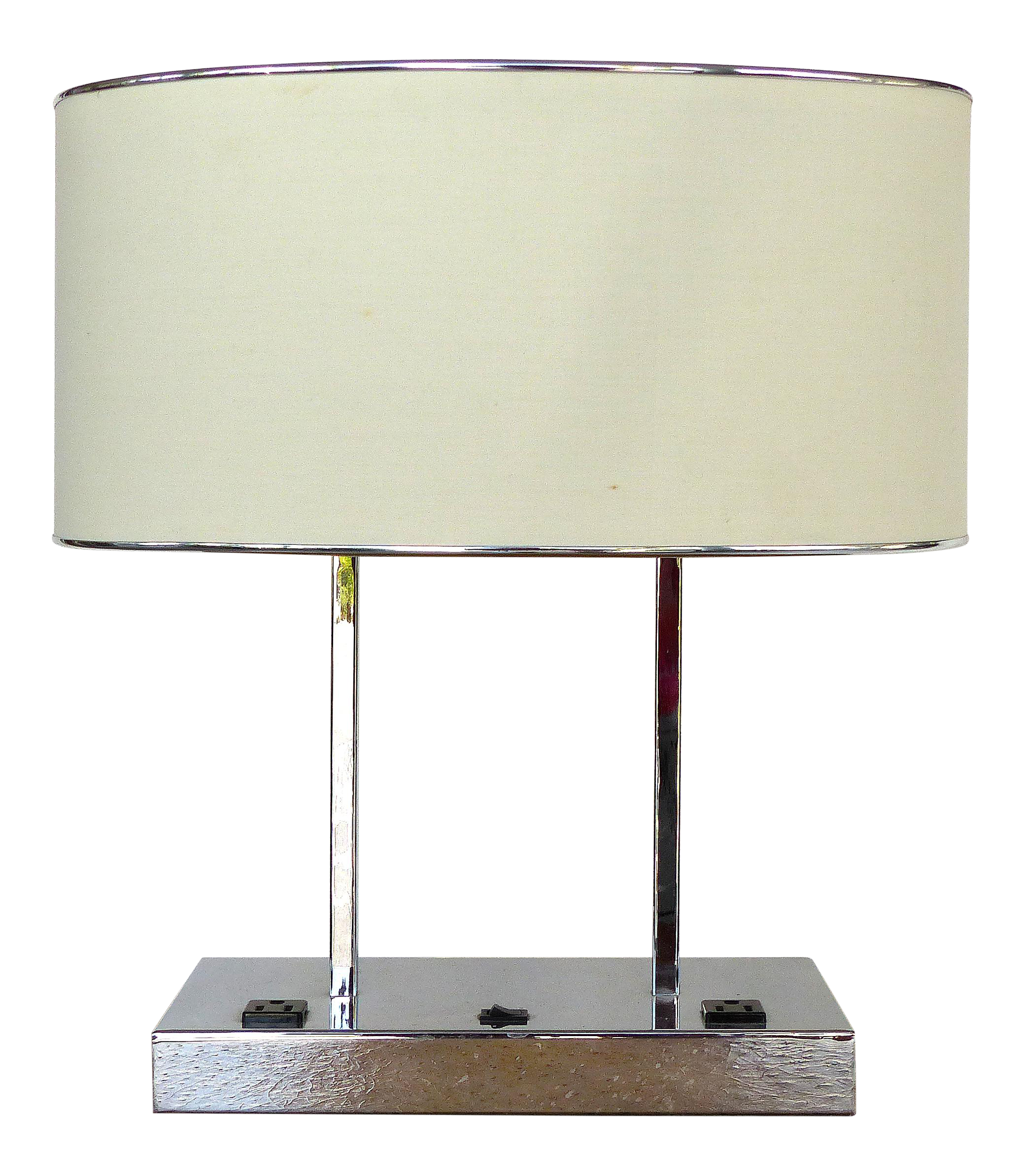 Contemporary Chrome Desk Table Lamp W 2 Electrical Outlets Chairish