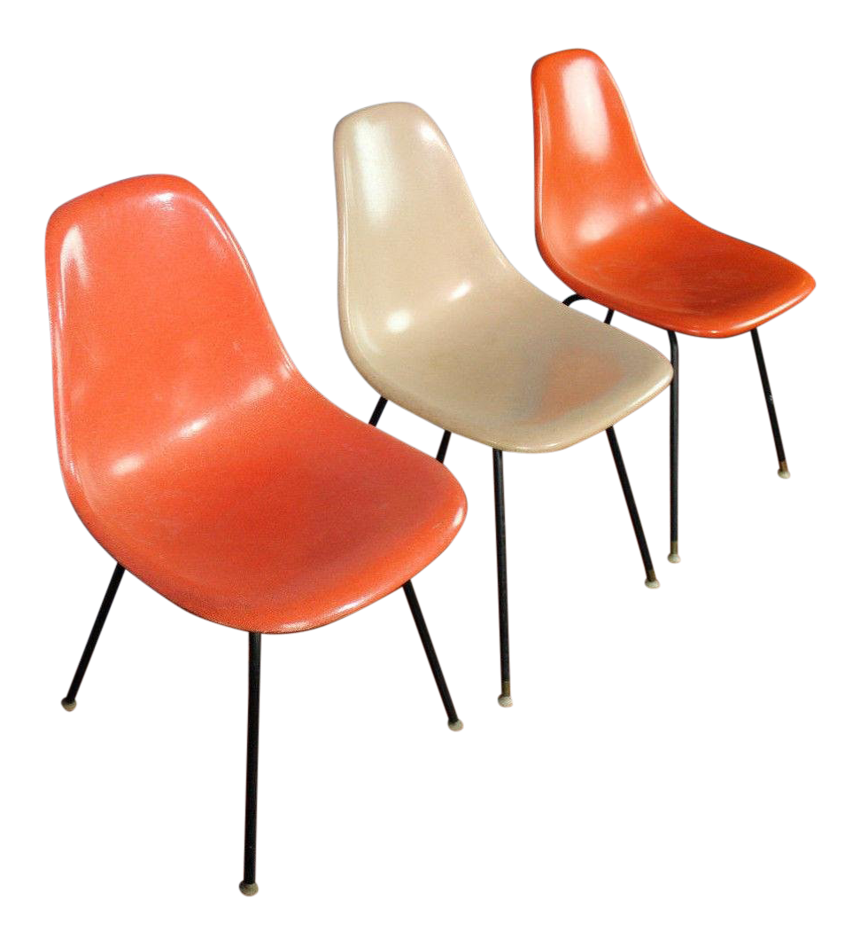 1958 Vintage Herman Miller Fiberglass Bucket Chairs - Set of 3 ...