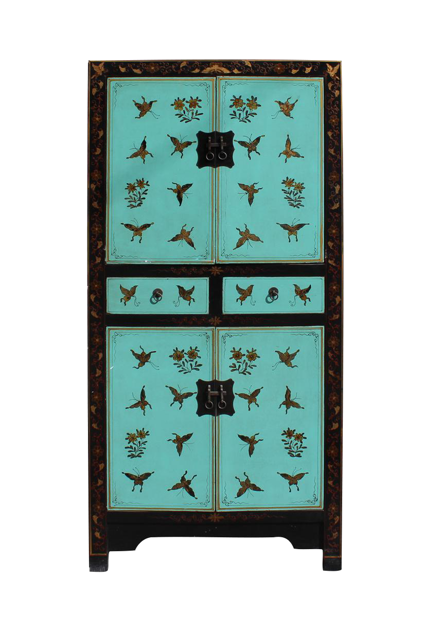 Chinese distressed turquoise gold butterfly cabinet for Kitchen cabinet trends 2018 combined with gold butterfly wall art