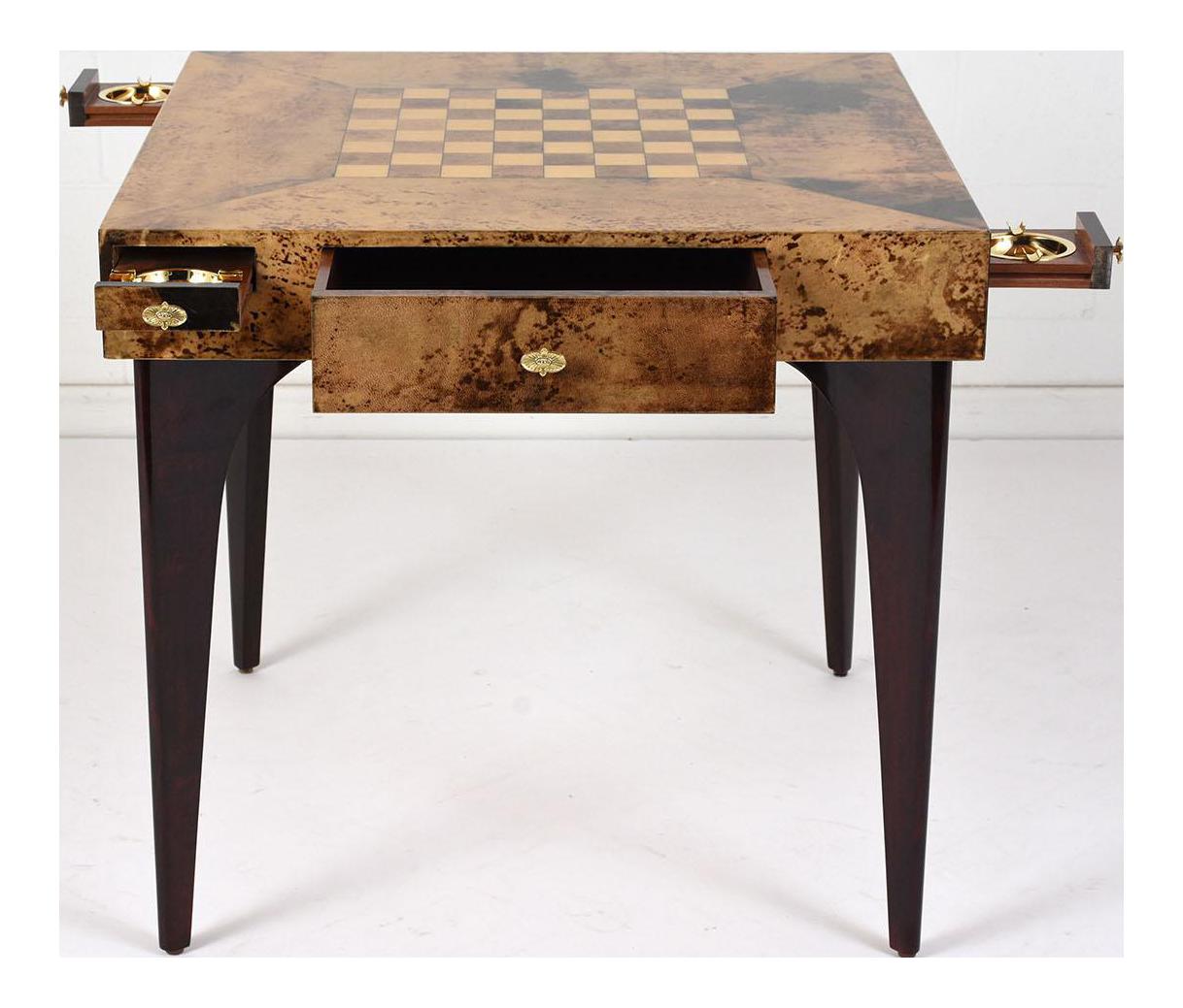 Aldo Tura Modern Burl Wood Veneer Game Table