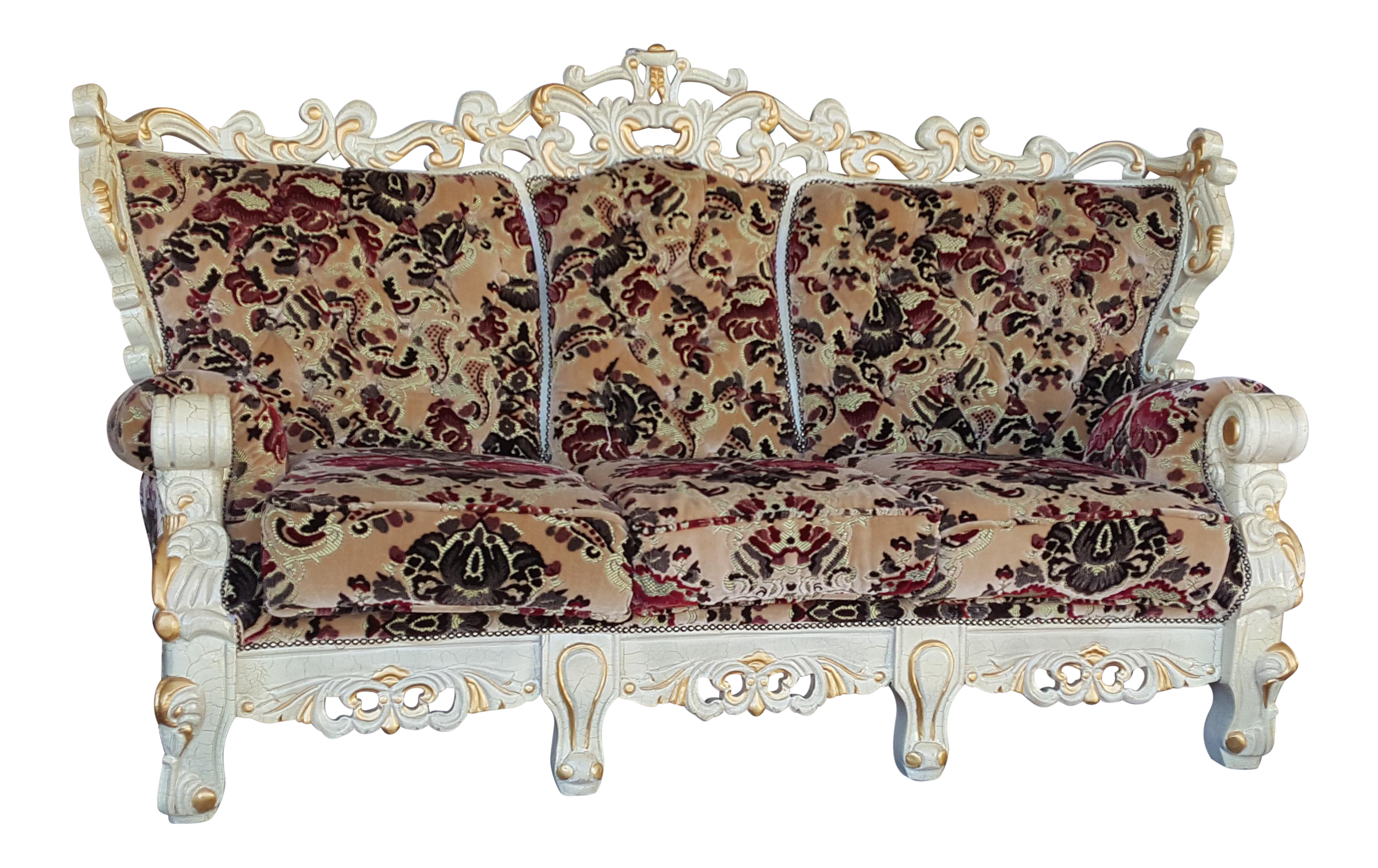 vintage victorian style floral velvet carved wood sofa. Black Bedroom Furniture Sets. Home Design Ideas