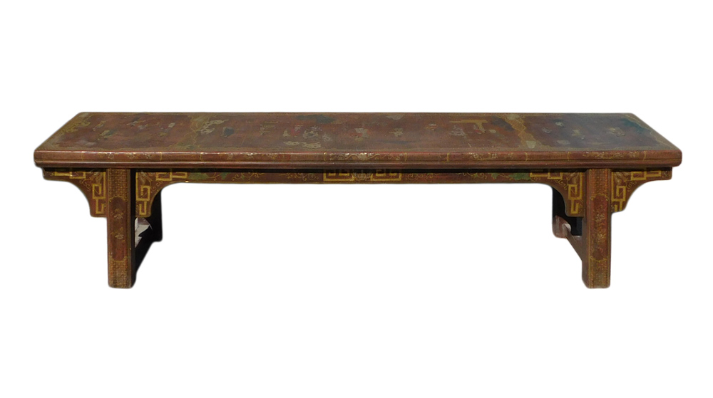 Golden People Scenery Graphic Brown Long Bench