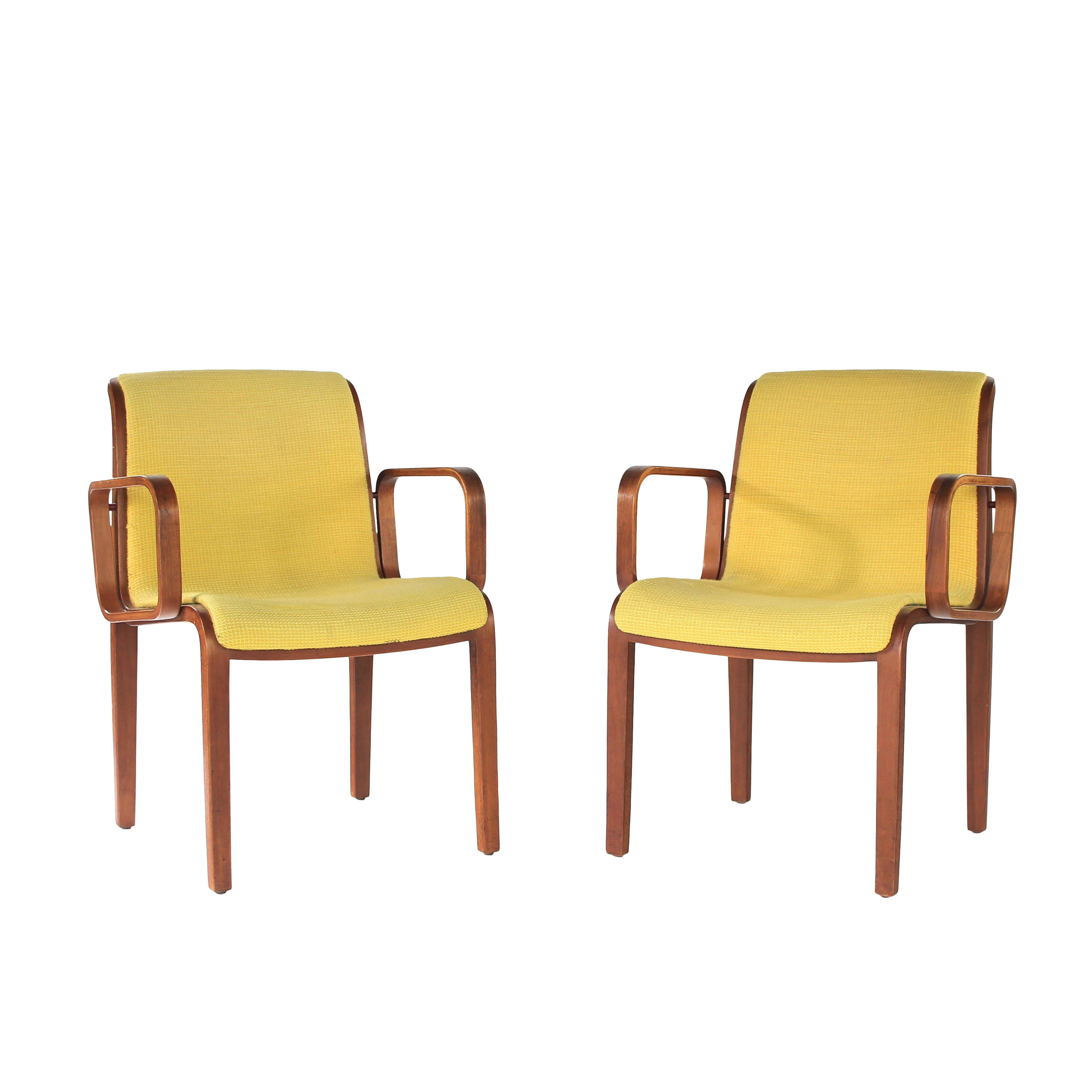 1970s Knoll Yellow Bentwood Armchairs A Pair Chairish