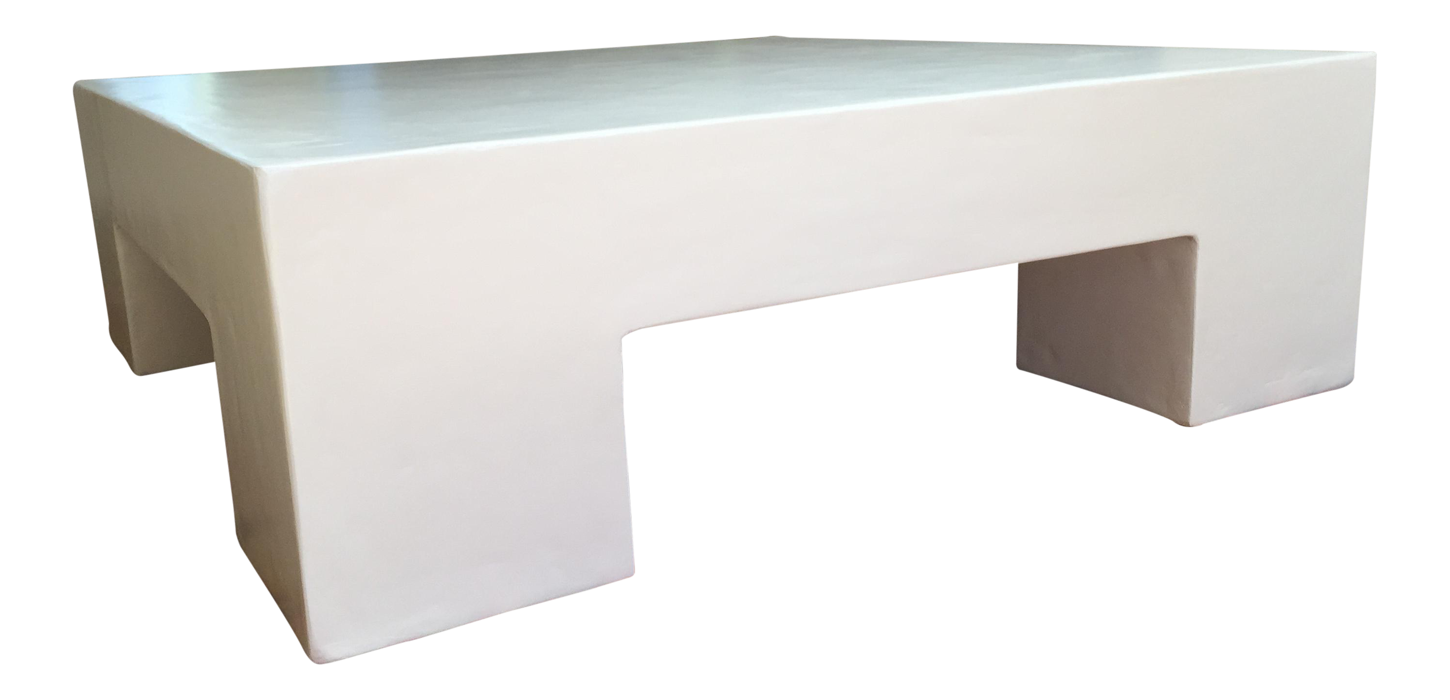 White Mid Century Handmade Plaster Coffee Table Chairish