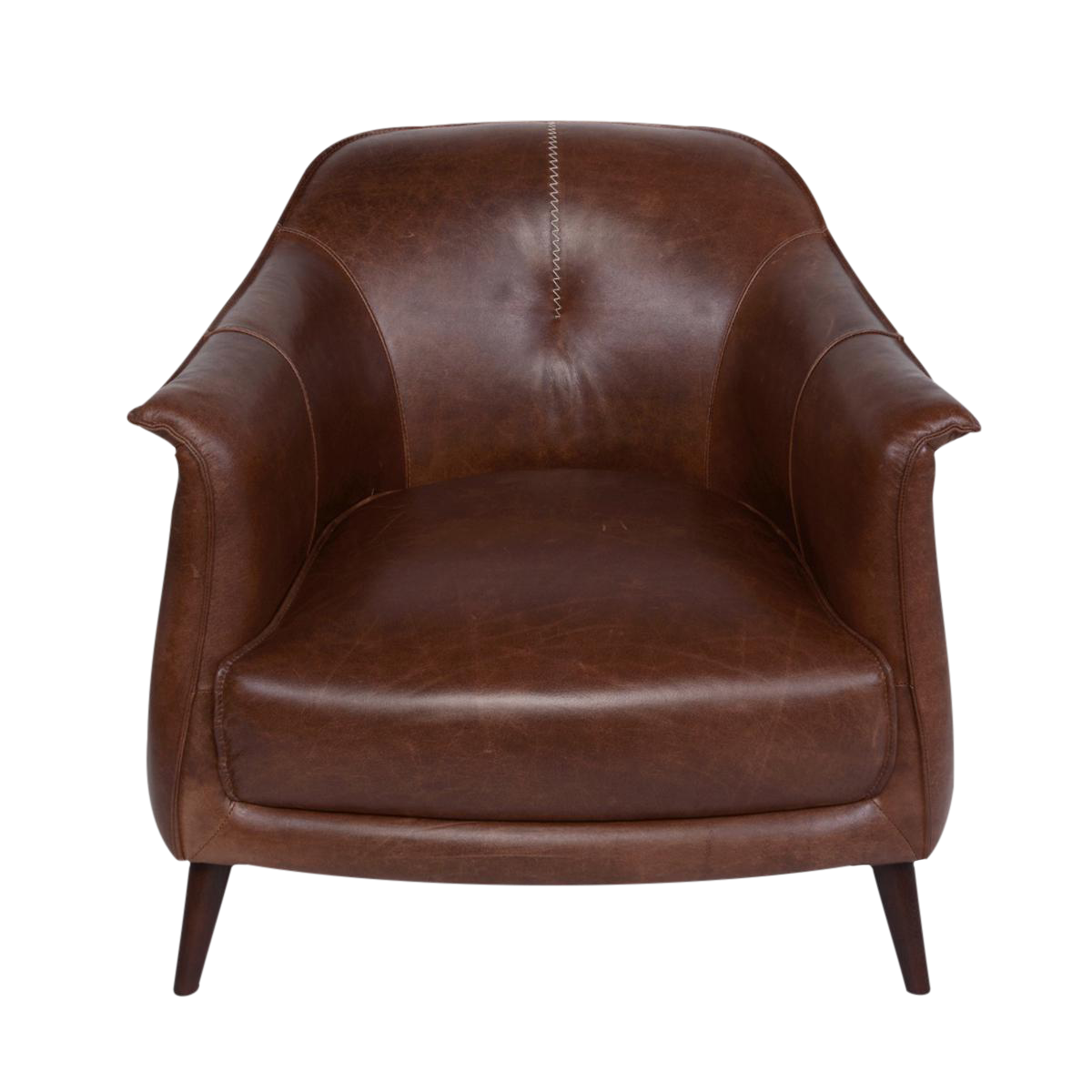 Chestnut Leather Gum Drop Chair Chairish
