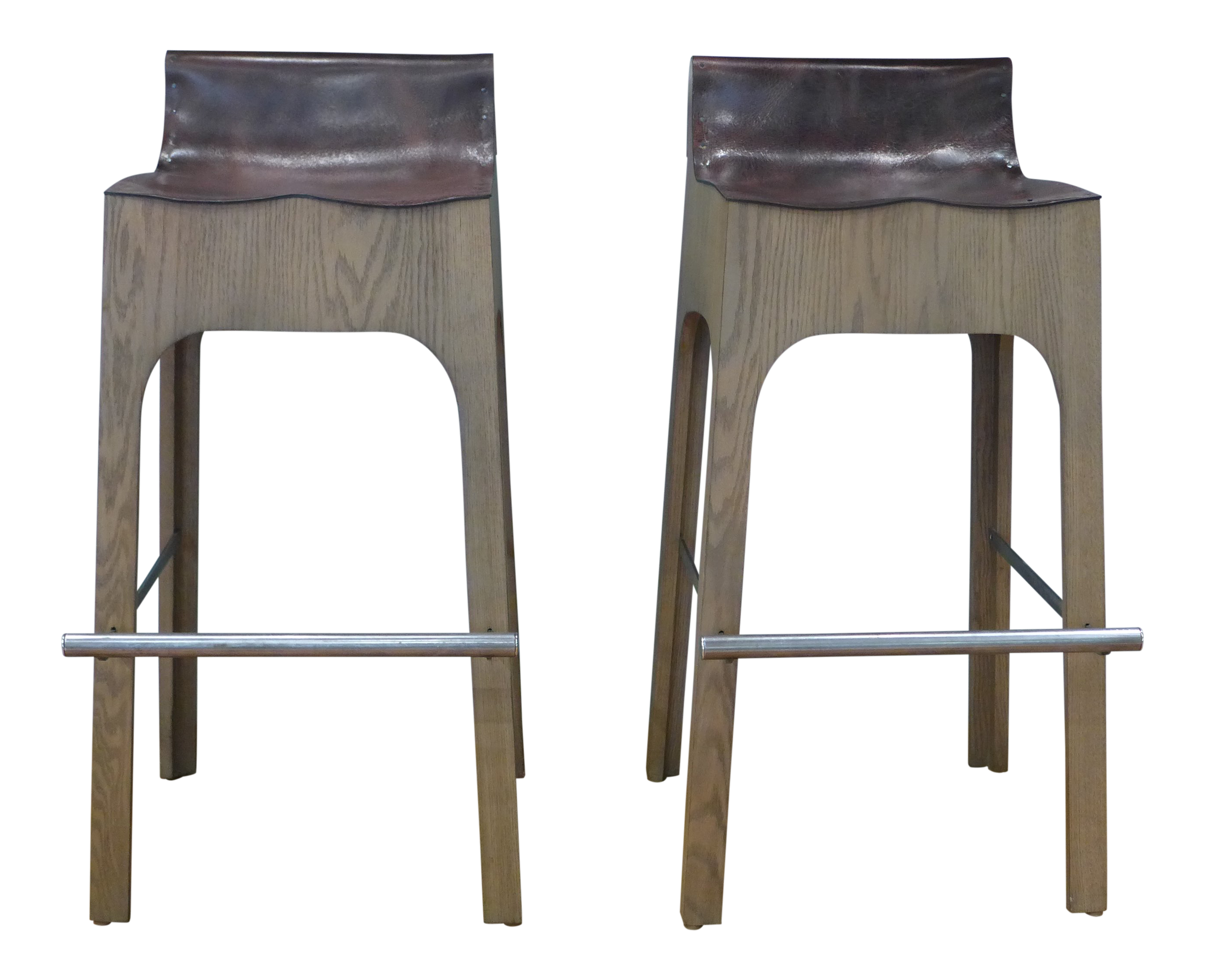 Wondrous Modern Lee Industries Reclaimed Leather Bar Stools A Pair Evergreenethics Interior Chair Design Evergreenethicsorg