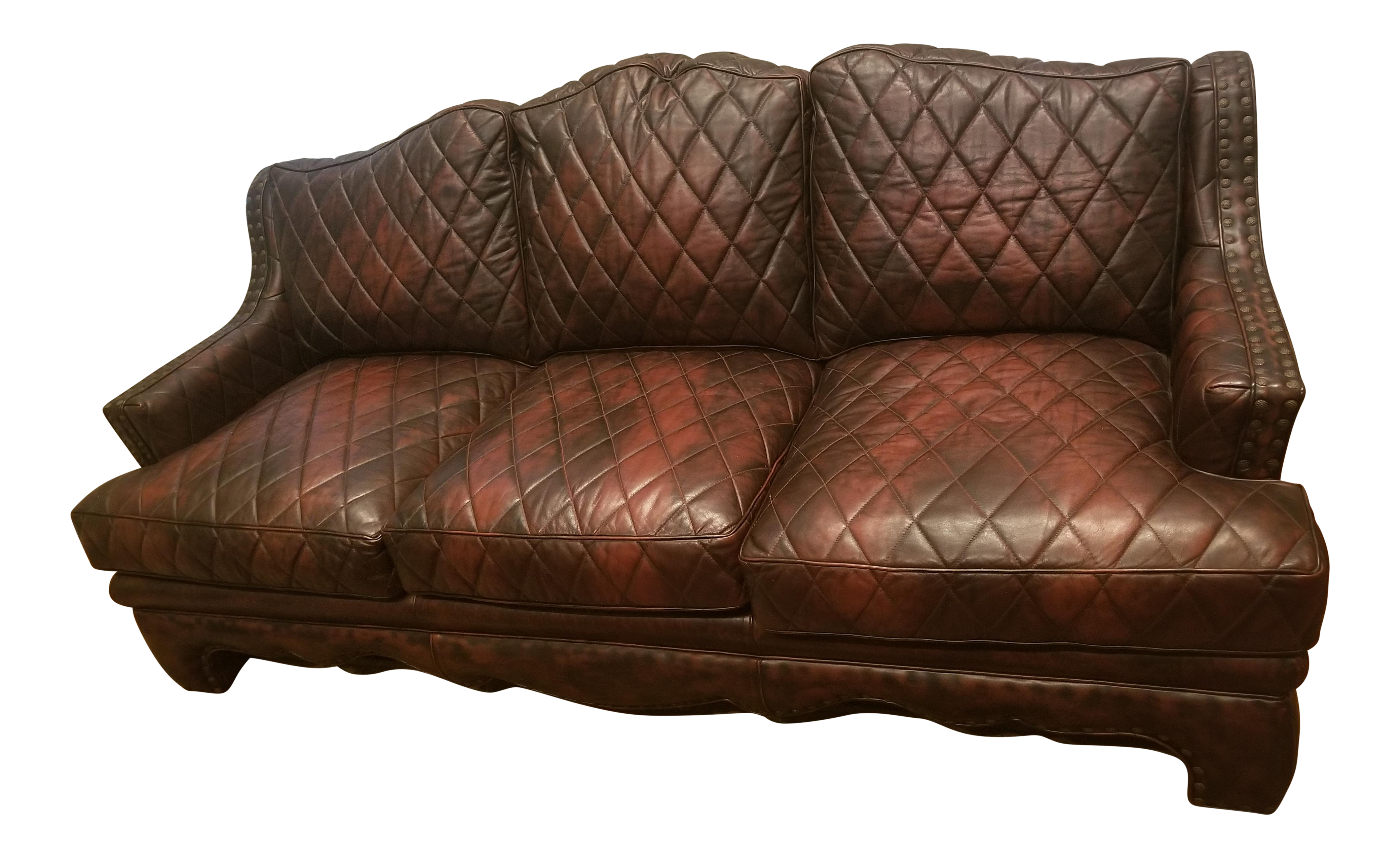 late 20th century councill harlquin quilted leather sofa chairish rh chairish com brown leather quilted sofa black quilted leather sofa