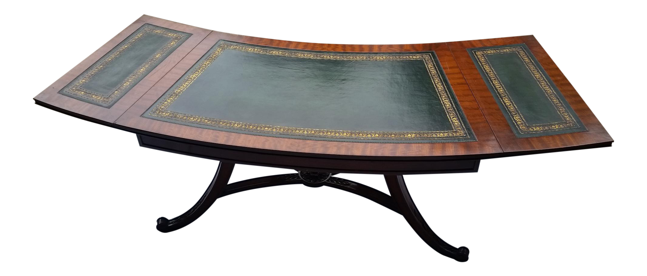 Curved Drop Leaf Green Leather Top Coffee Table
