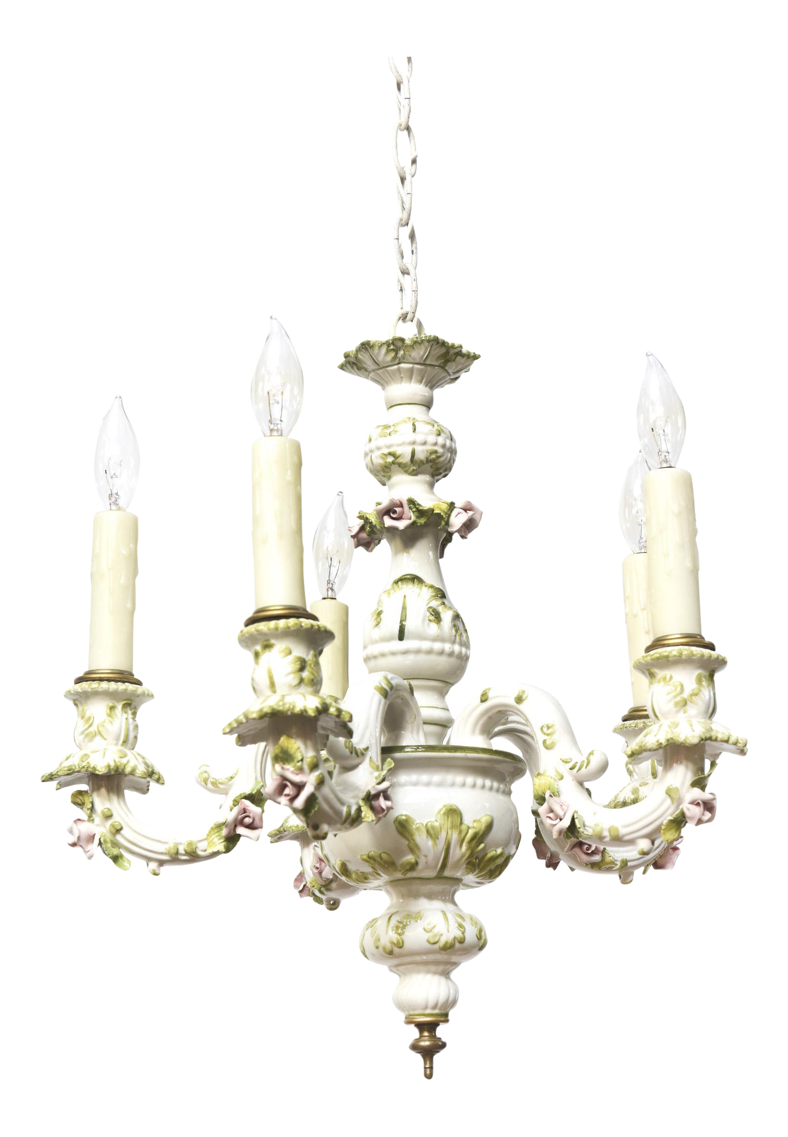 Capodimonte Five Light Porcelain Chandelier With Roses