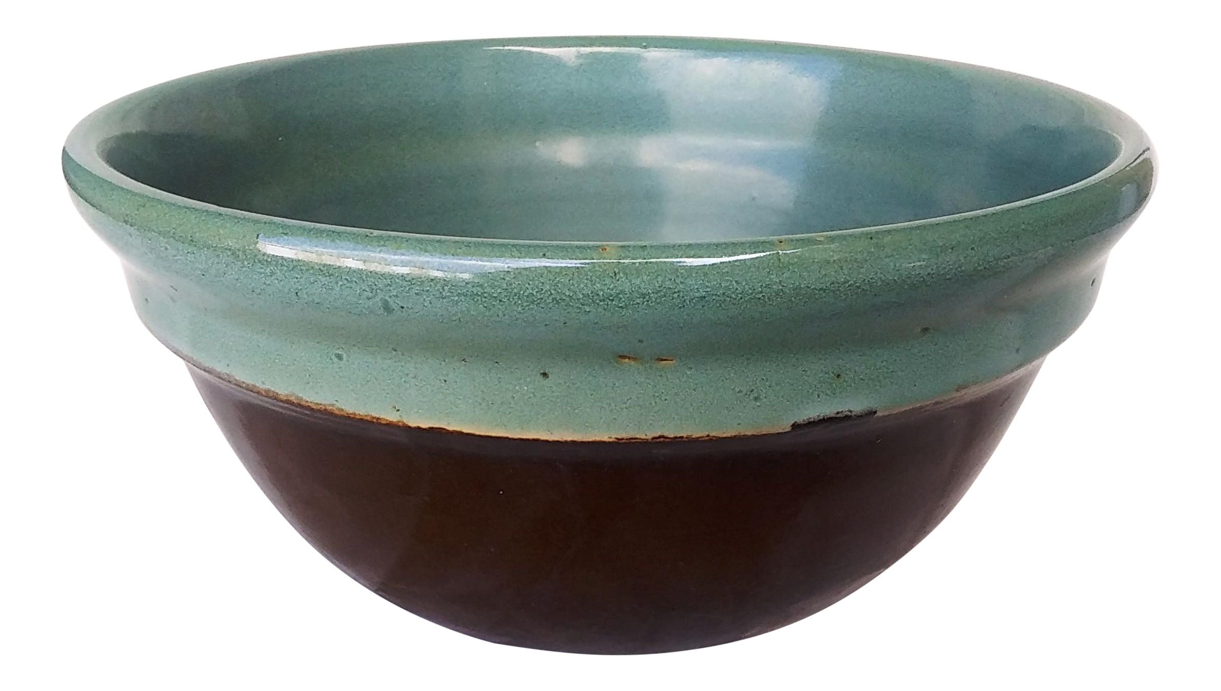 Red wing pottery 8 mixing bowl teal green brown chairish reviewsmspy
