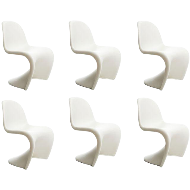 vitra panton s chairs in white set of 6 chairish. Black Bedroom Furniture Sets. Home Design Ideas