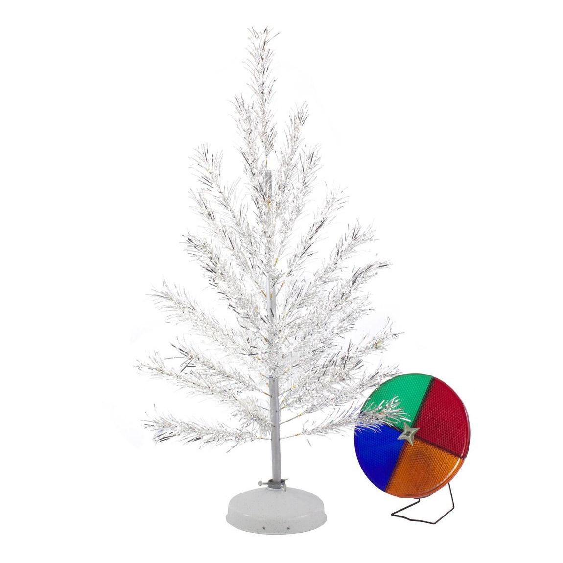 retro aluminum christmas tree with color wheel light chairish - Rotating Color Wheel For Christmas Tree