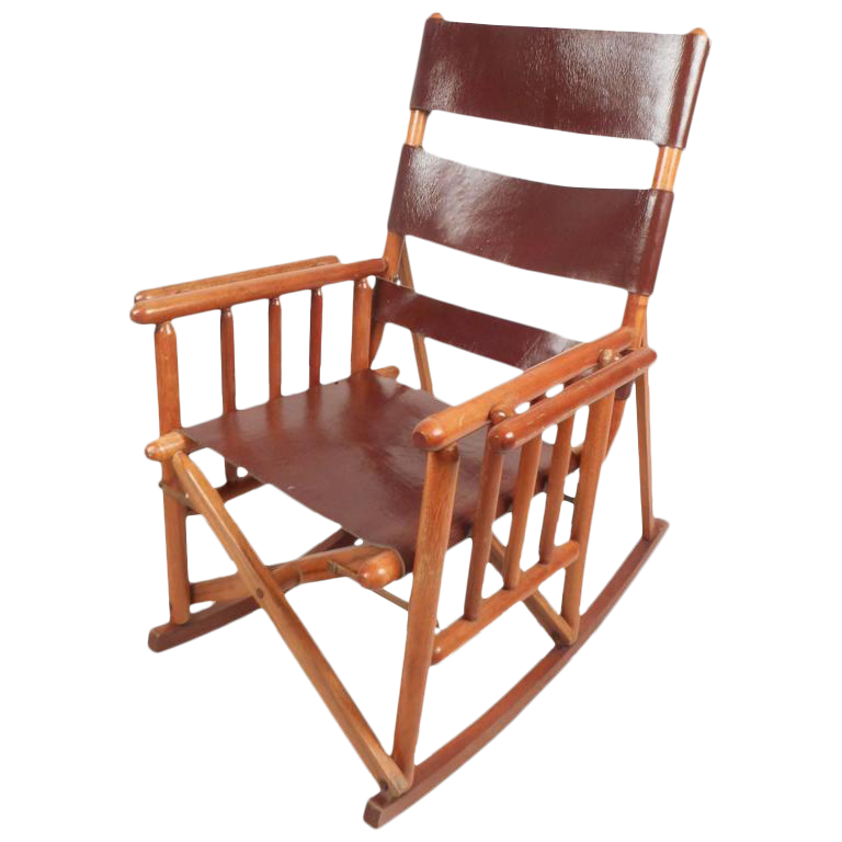 Mid Century Modern Costa Rican Leather Campaign Folding Rocking Chair Chairish