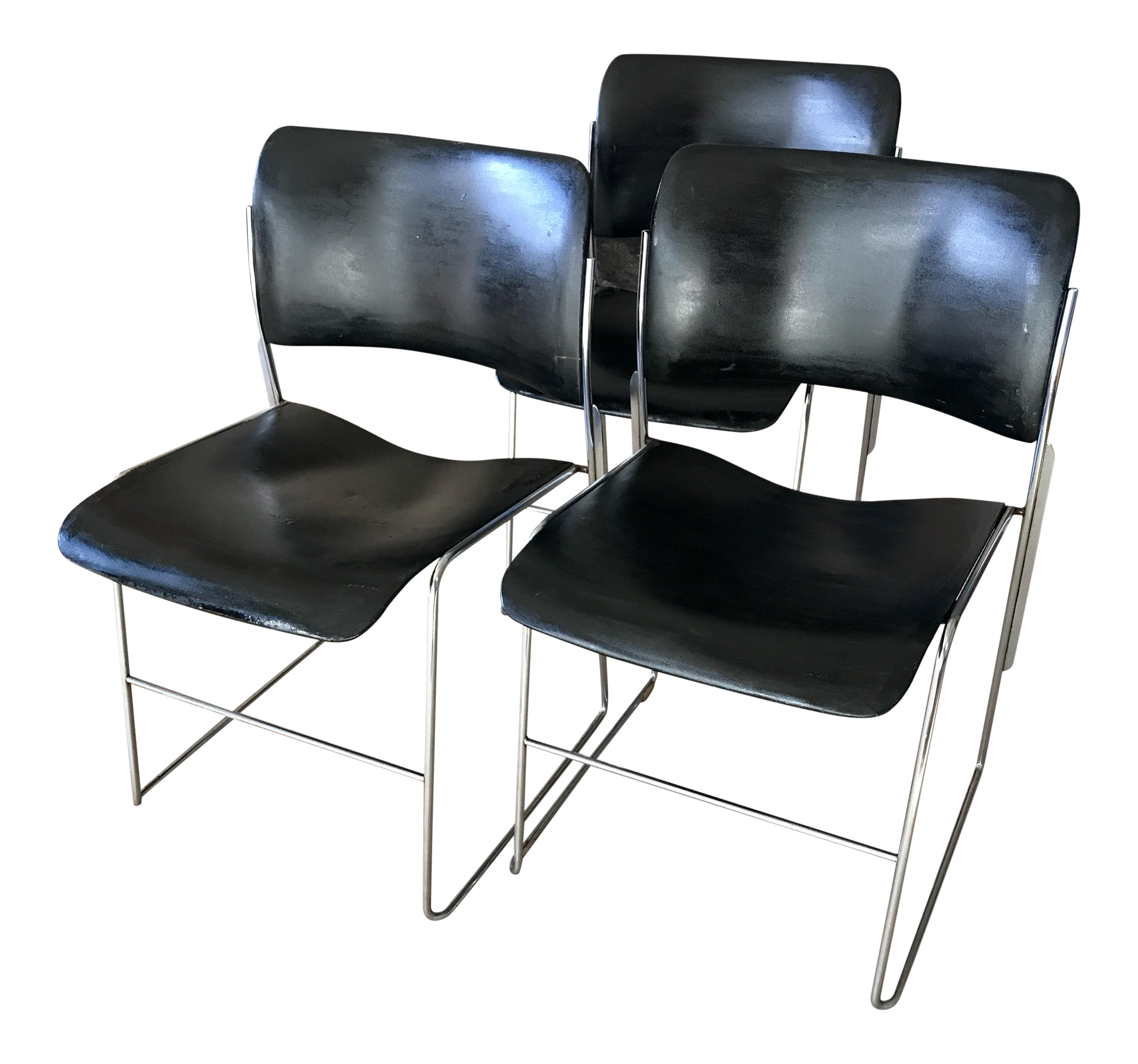Mid Century Dining Chairs Metal Stacking David Rowland Set Of 3