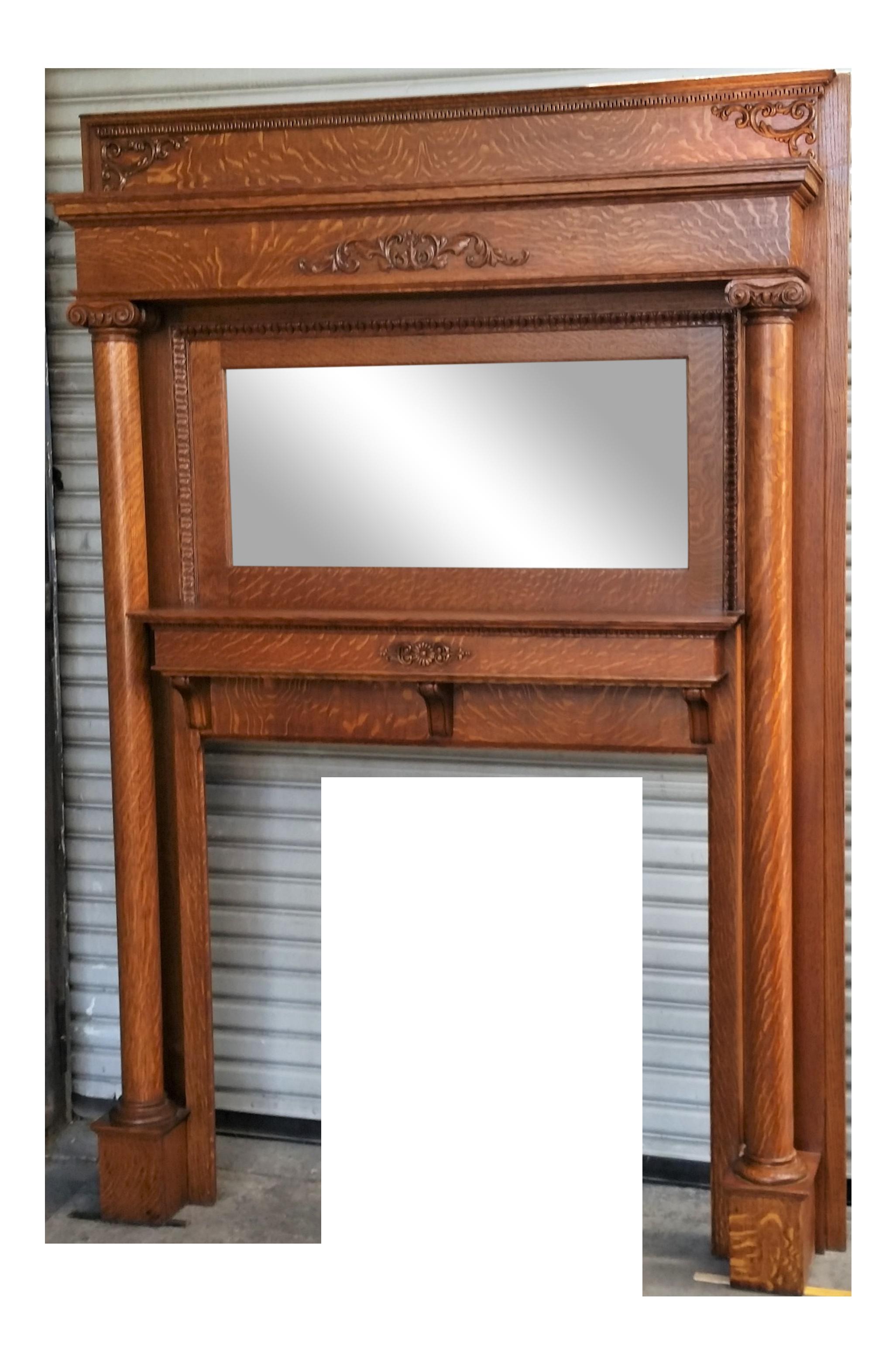 Victorian Antique American Tiger Oak Mantel