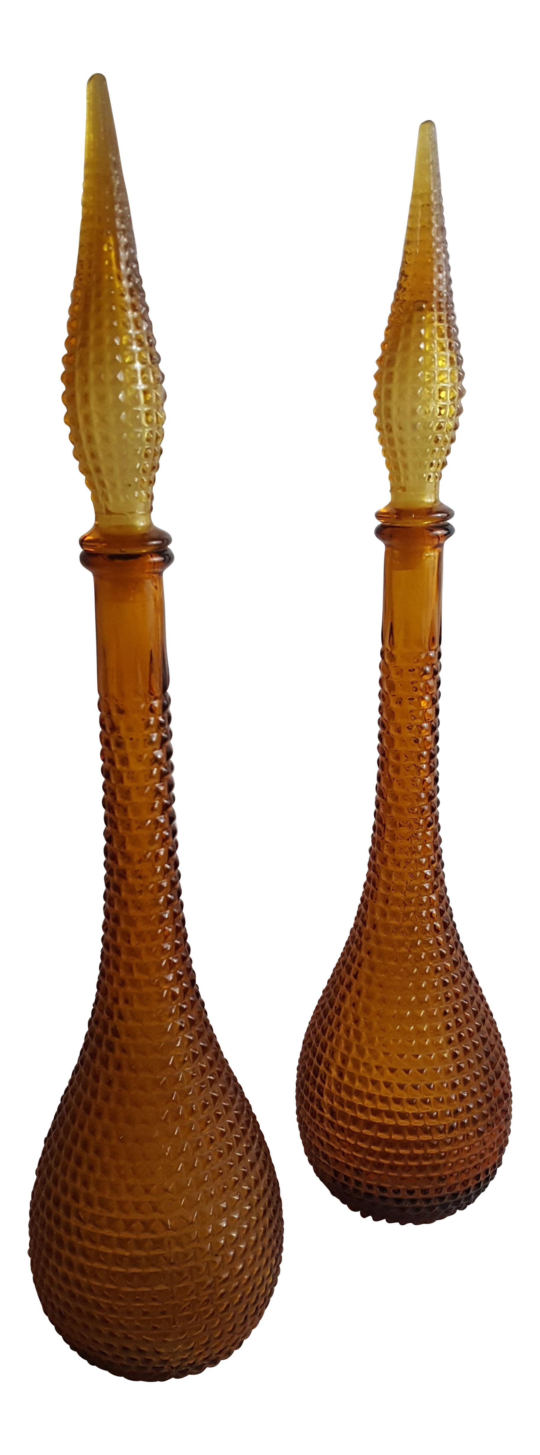 Gold handblown murano glass genie bottle decantors a pair for Kitchen cabinet trends 2018 combined with hand blown glass wall art