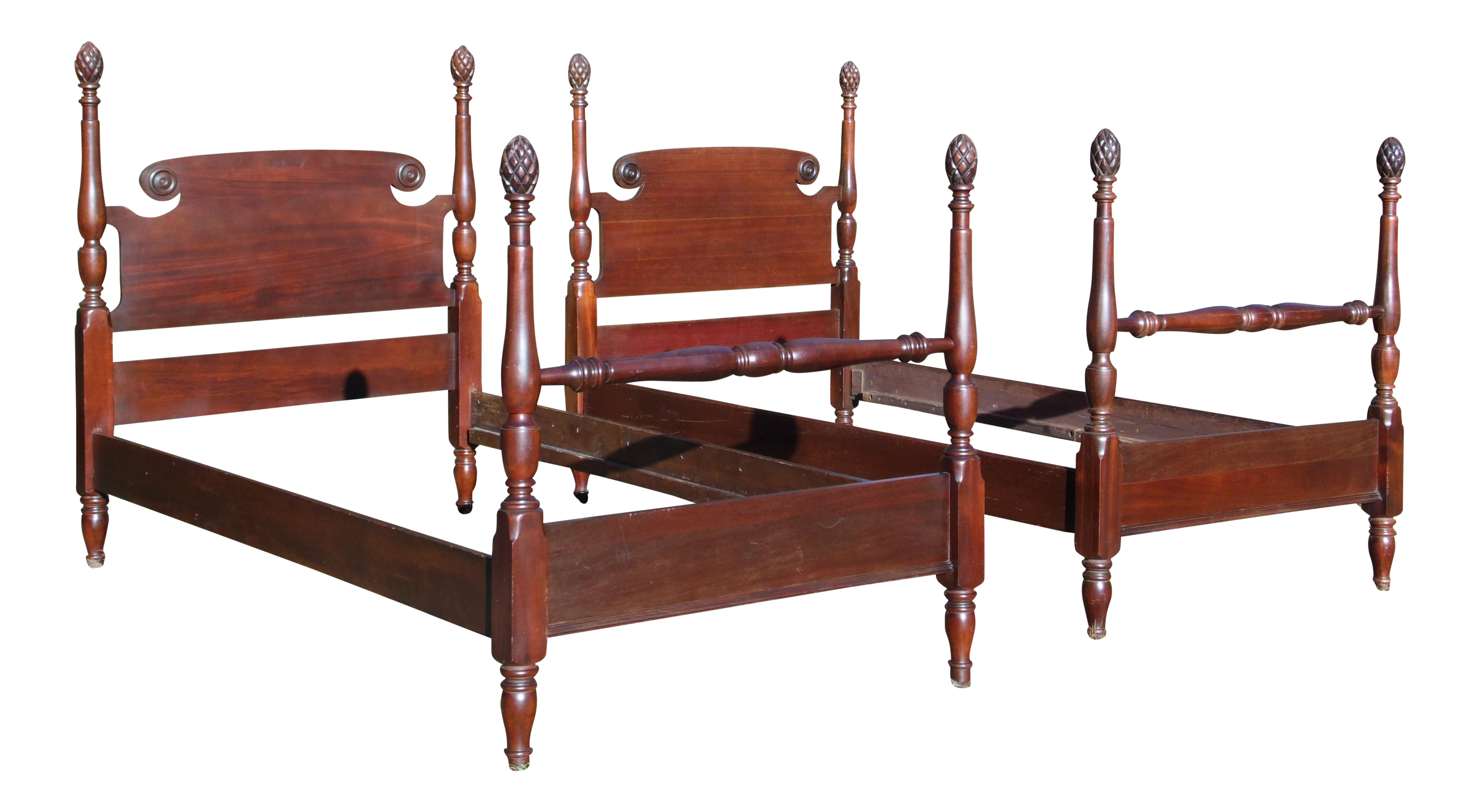 Antique Federal Style Mahogany Pineapple Four Poster Twin Beds - A ...