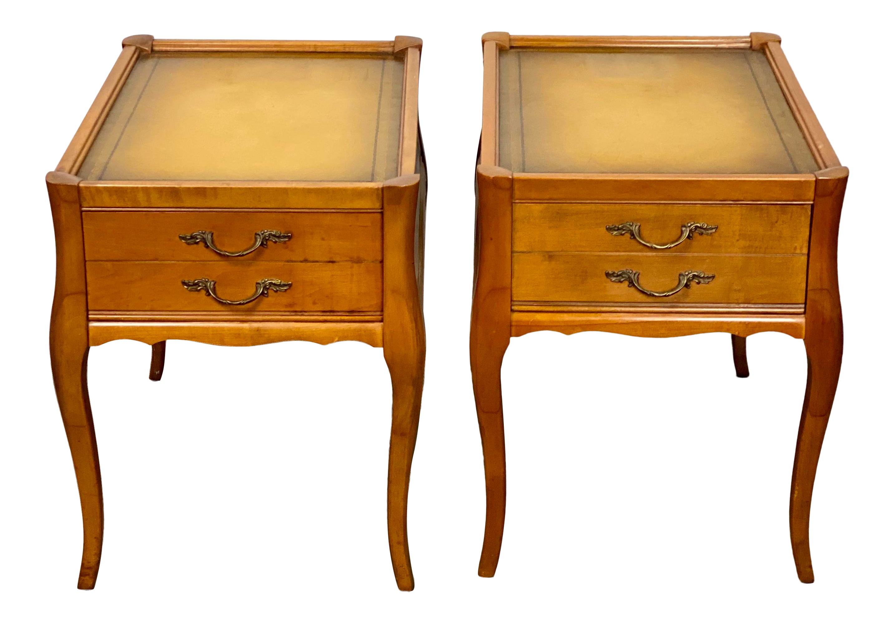 Picture of: Vintage Leather Top Mersman Furniture Provincial Side Tables A Pair Chairish