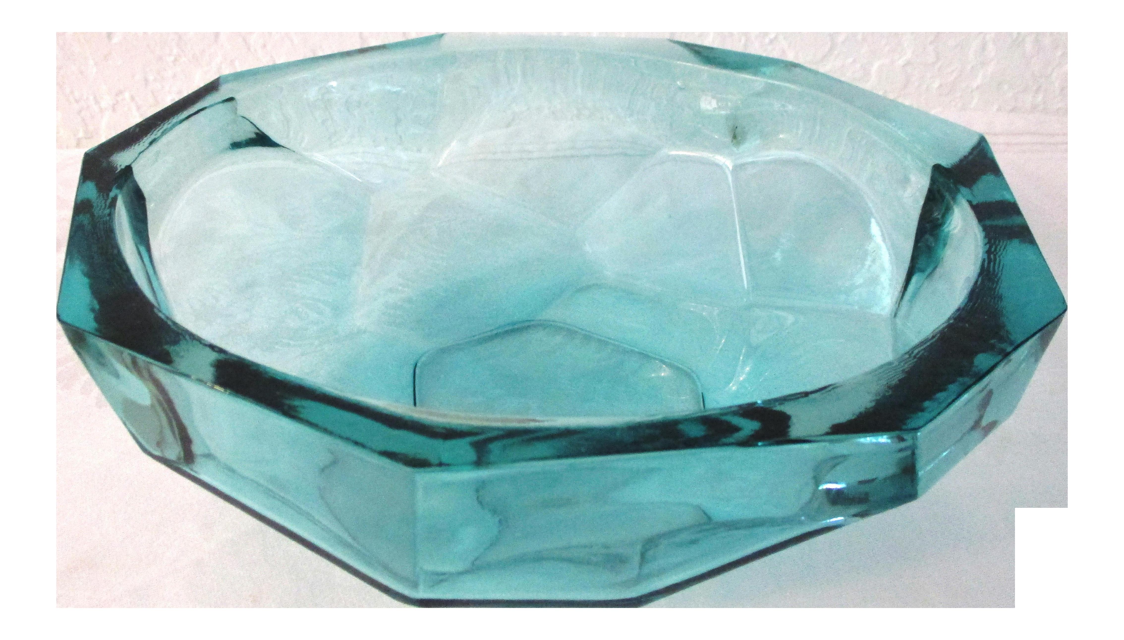 kunstglas burger style aqua faceted glass bowl   chairish