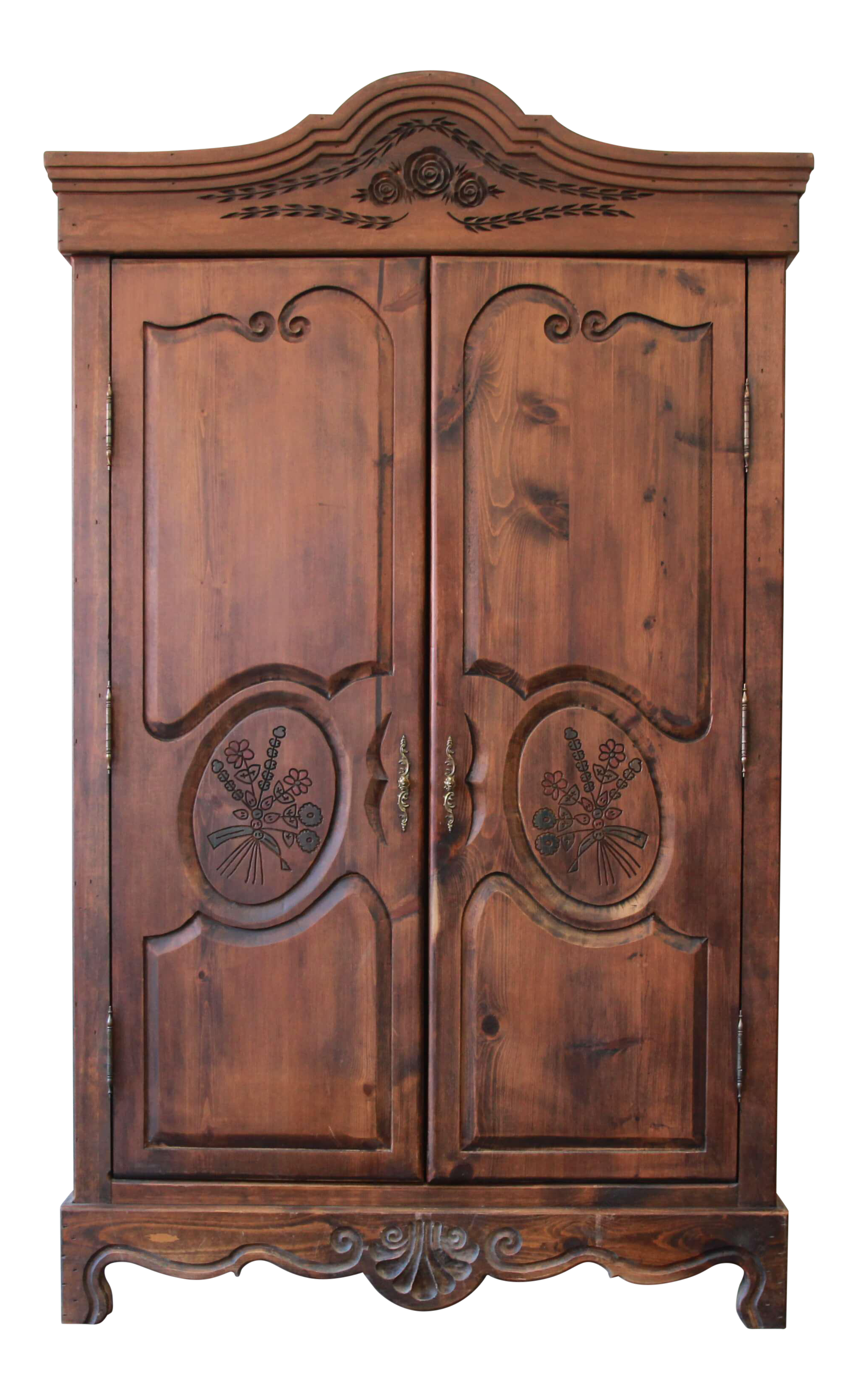 Vintage French Country Spoon Carved Dark Pine Wardrobe By Habersham Plantation Furniture Chairish
