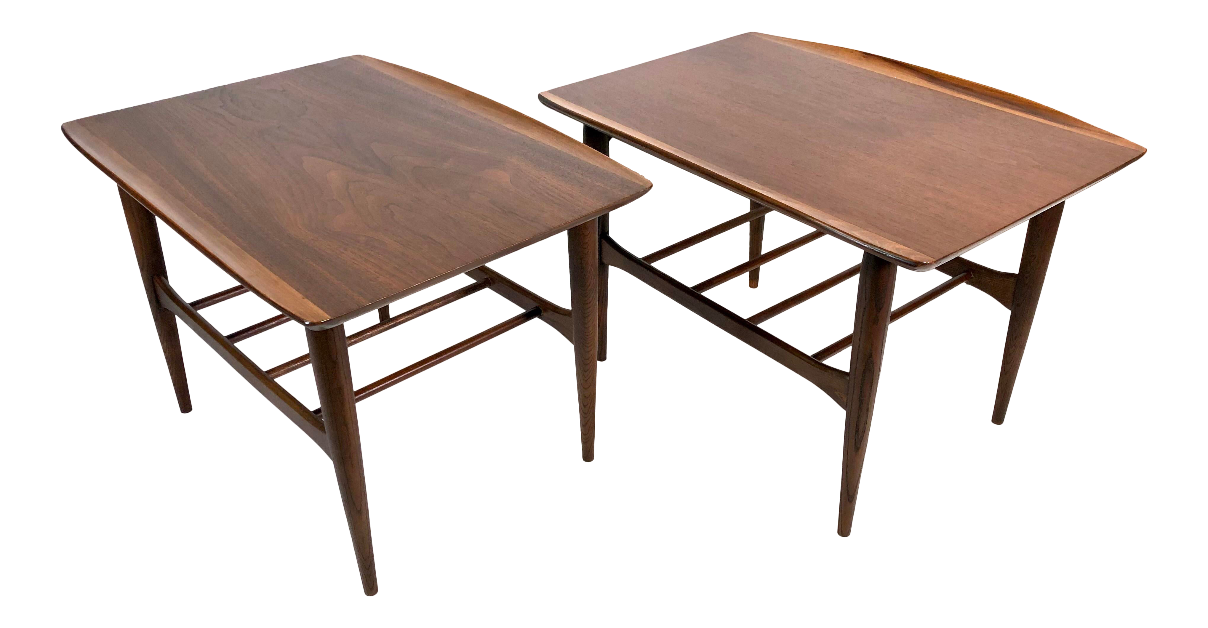 Mid Century Modern Surfboard Walnut Side Tables By Bassett A Pair Chairish