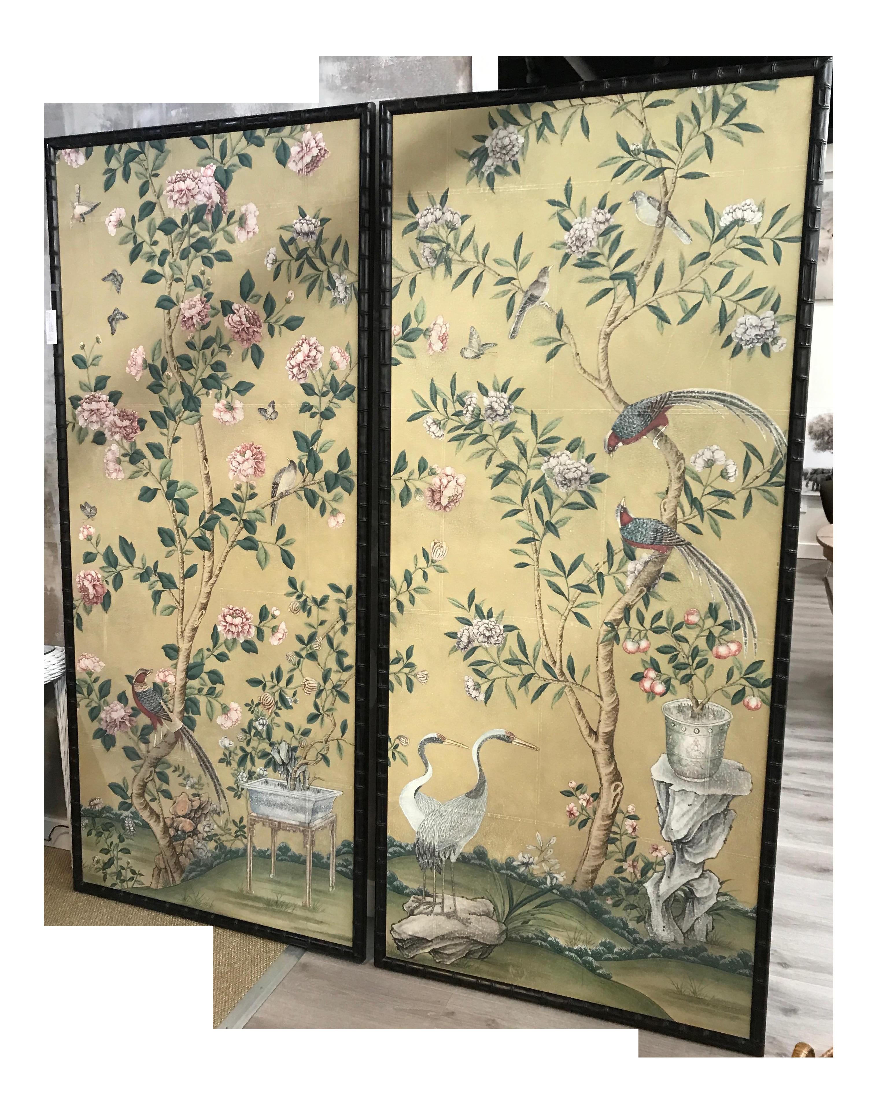 Oversized Pair of Chinoiserie Bamboo Framed Wallpaper Panels - Birds ...