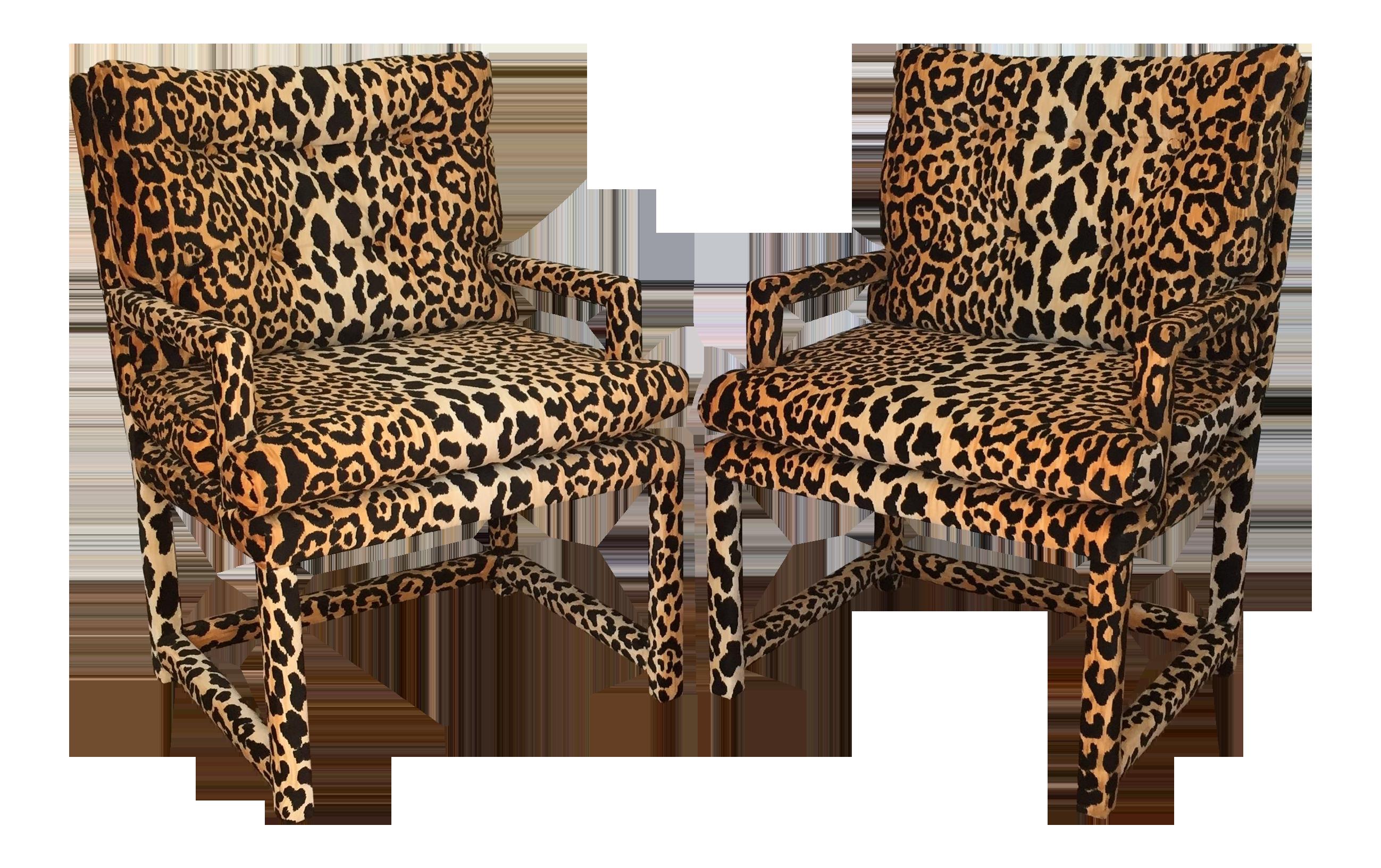Milo Baughman Style Vintage Leopard Parsons Chairs A