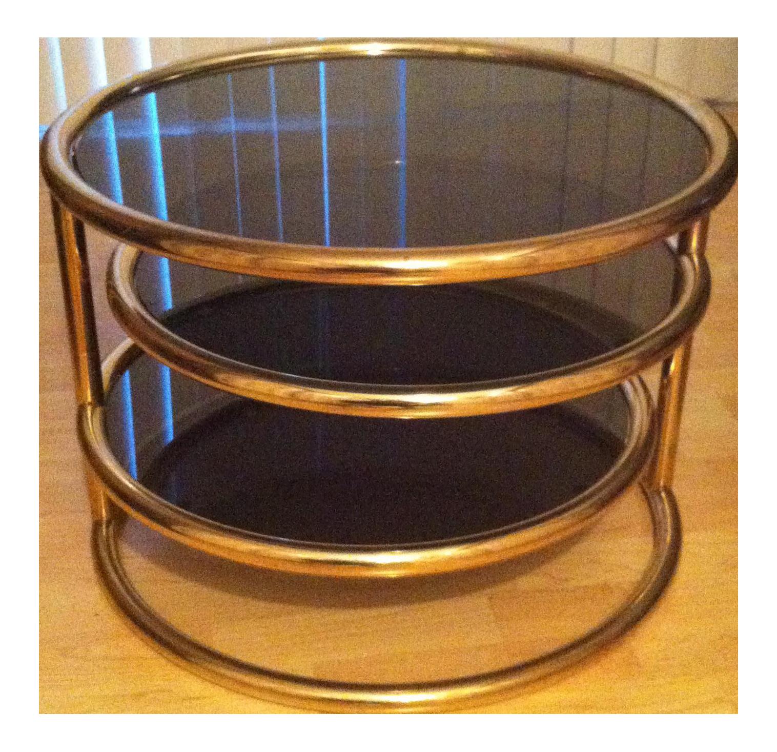 Milo Baughman Brass Swivel Coffee Table