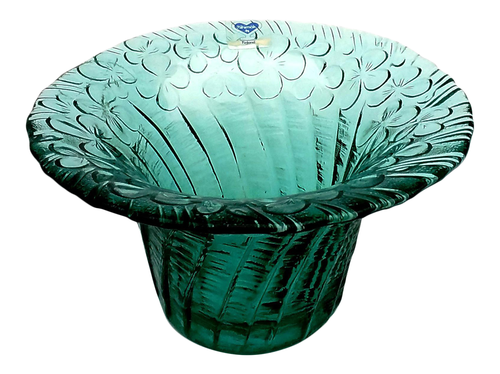 Riihimaki handblown art glass turquoise textured floral for Kitchen cabinet trends 2018 combined with hand blown glass wall art