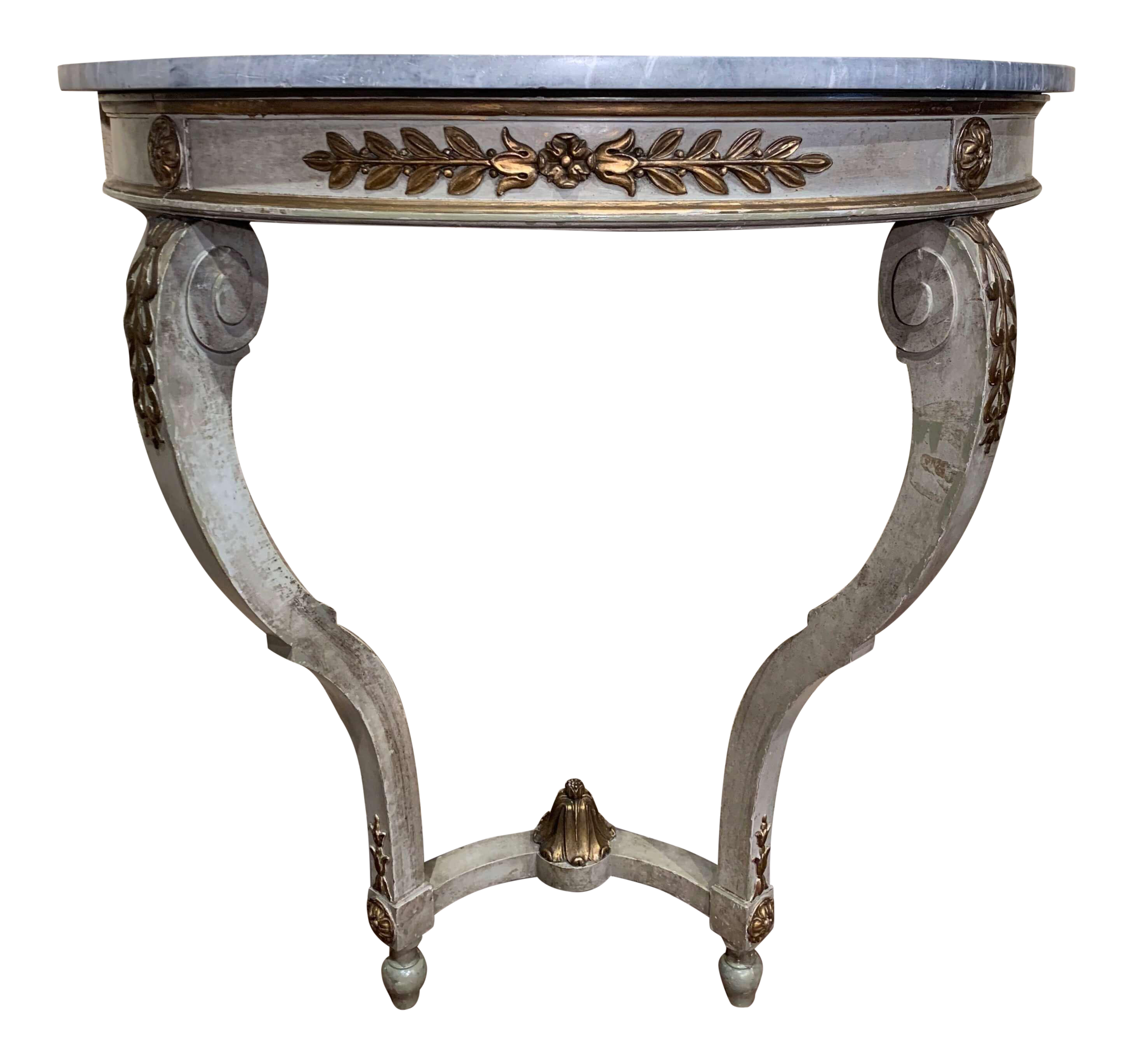 19th Century French Louis Xv Painted Demi Lune Console Table With Marble Top Chairish