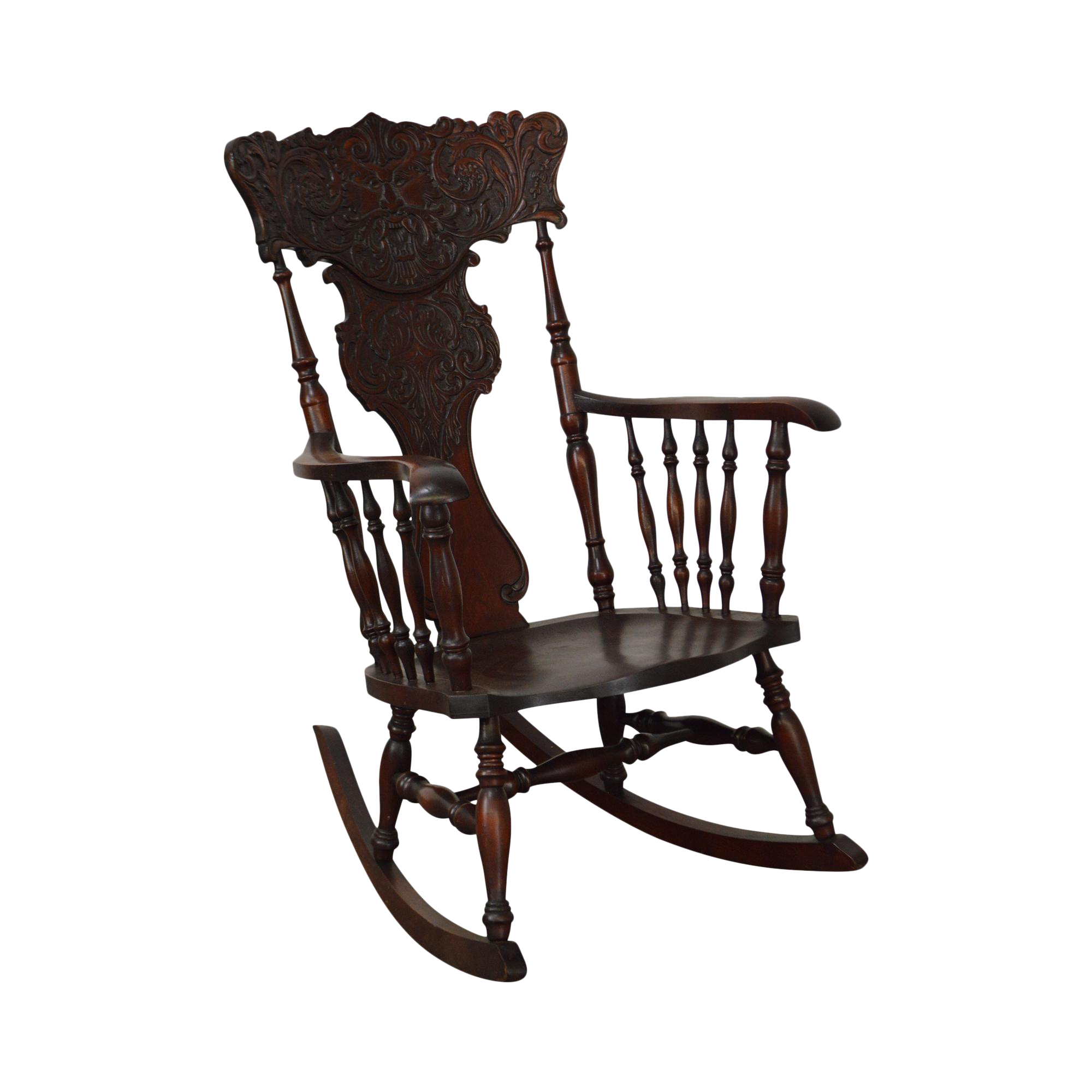 antique carved mahogany northwind rocker rocking chair chairish