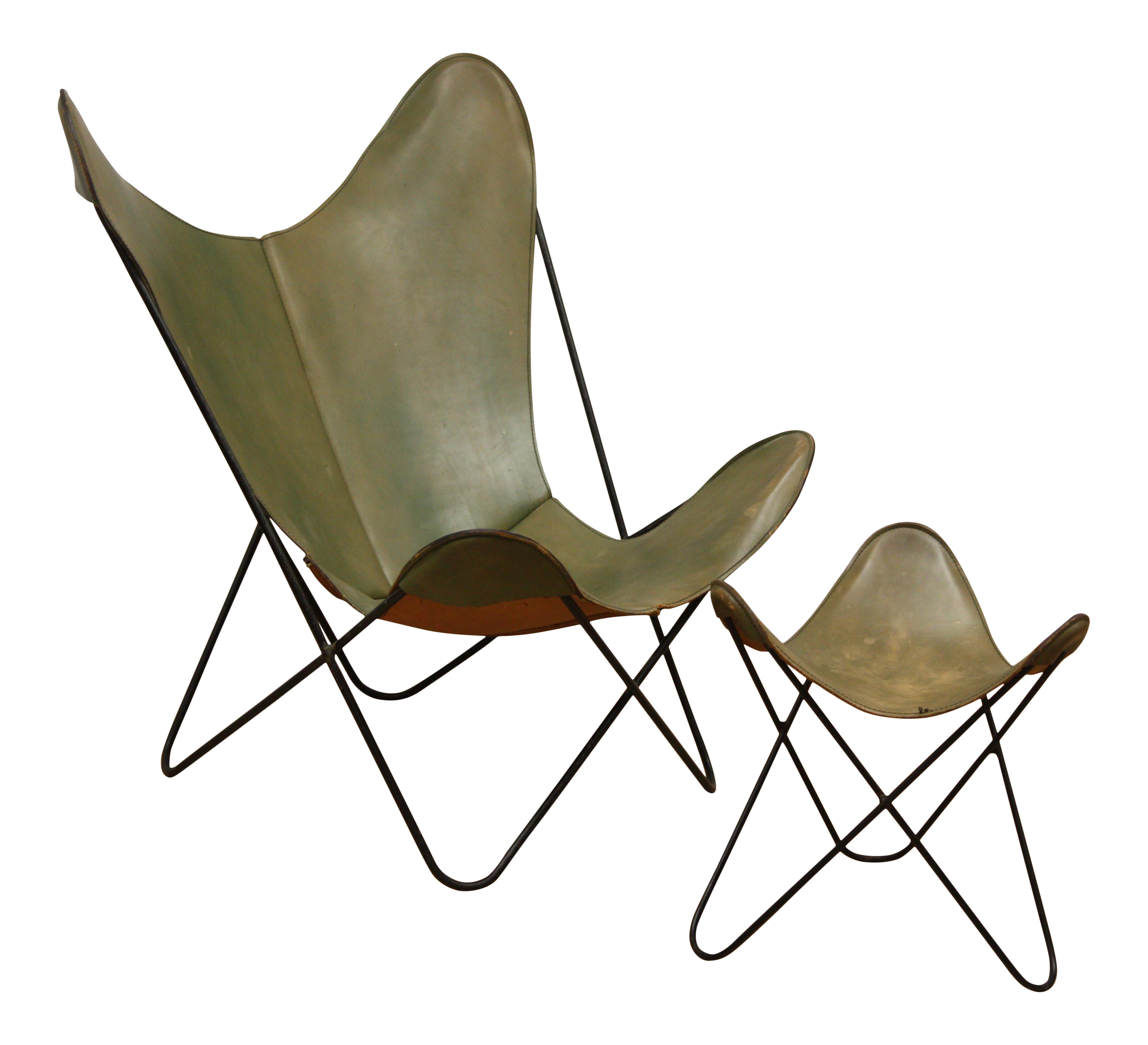 Vintage Hardoy for Knoll Green Leather Sling Butterfly Chair ...