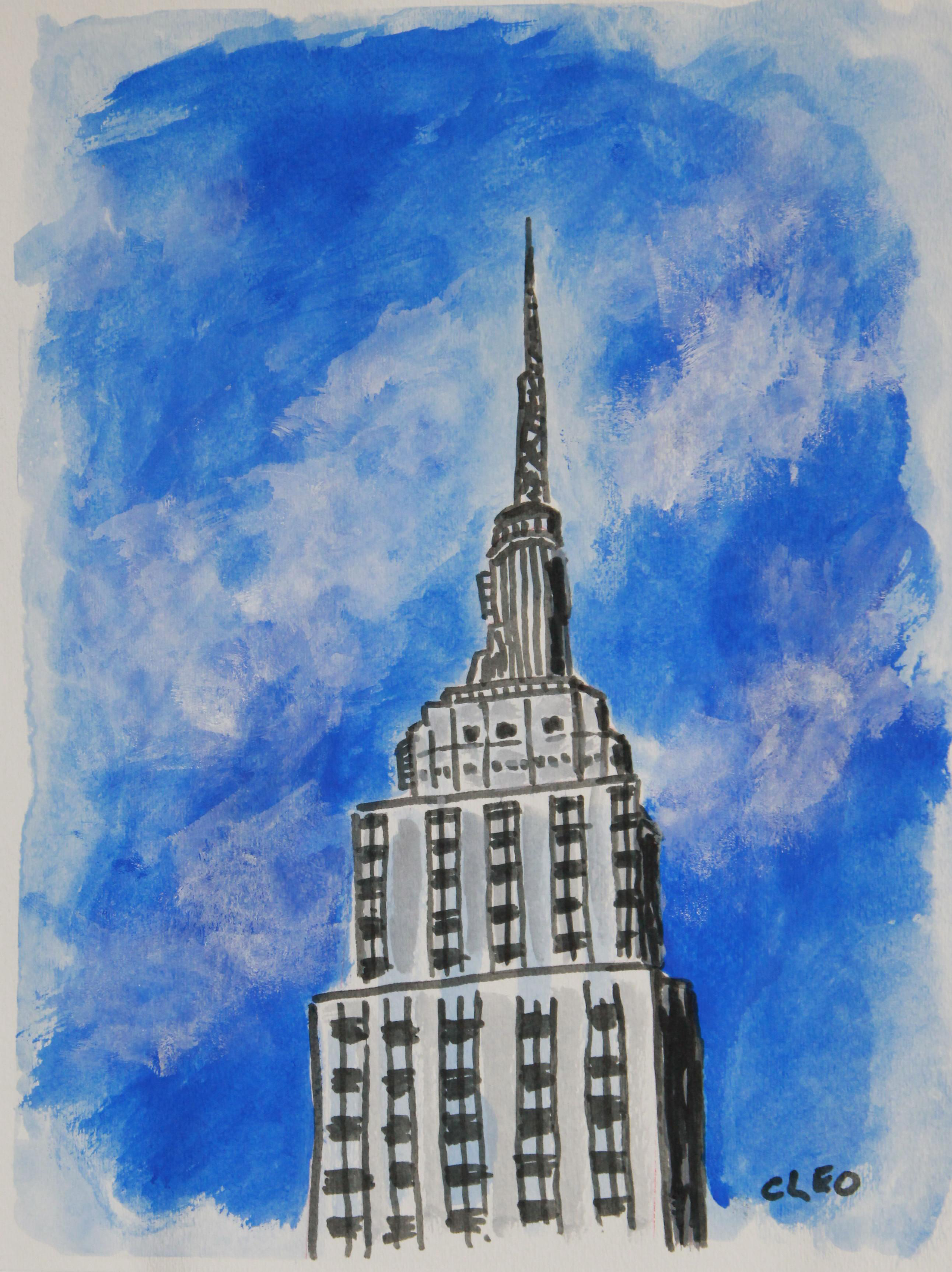 Empire State Building Painting by Cleo | Chairish